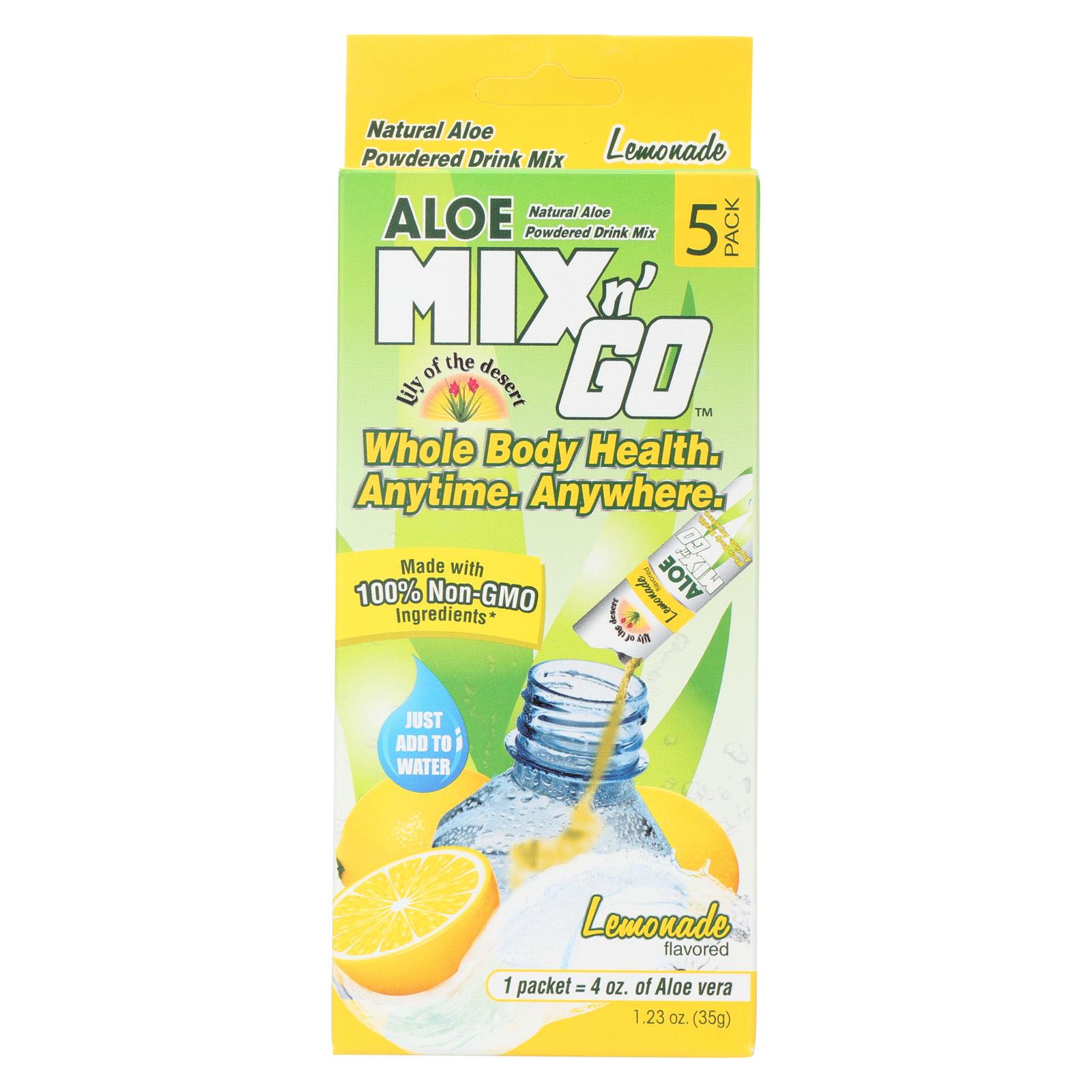 Lily of The Desert Mix N'Go Aloe Drink - Lemon - Case of 10