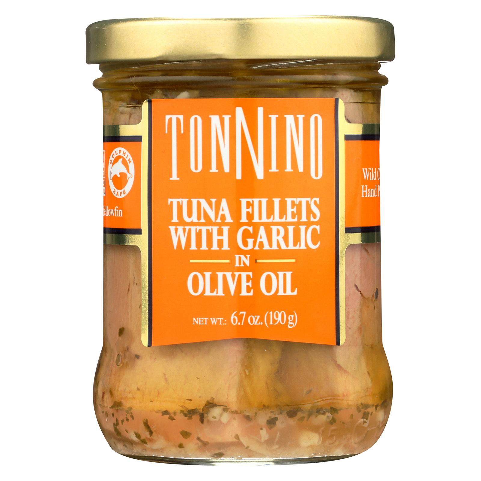 Tonnino Tuna Fillets - Garlic, Olive Oil - Case of 6 - 6.7 oz.