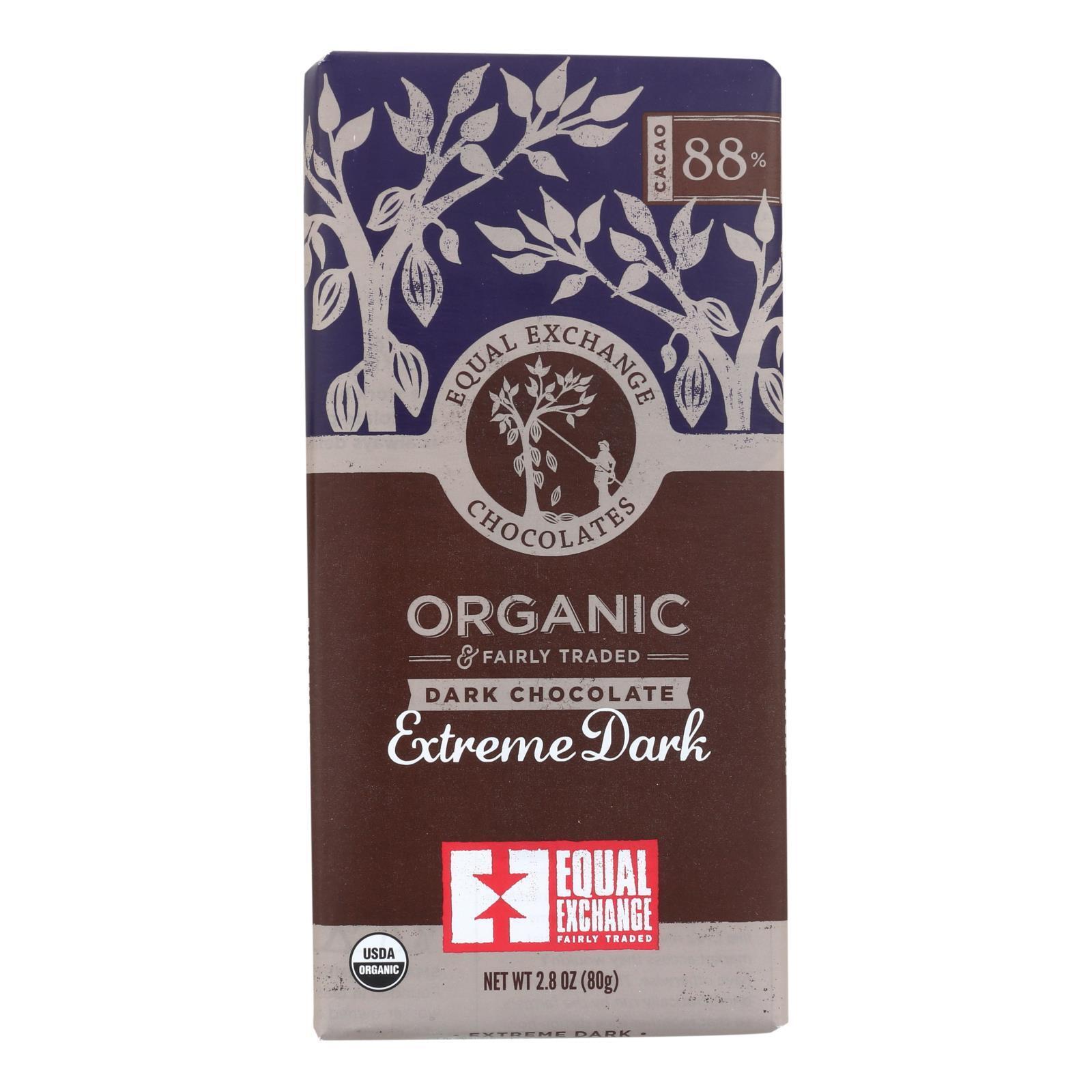 Equal Exchange Organic Chocolate Bar - Extreme Dark - Case of 12 - 2.8 oz.