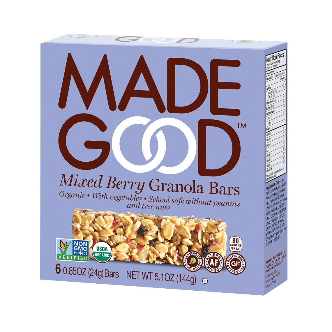 Made Good Granola Bar - Mixed Berry - Case of 6 - 5 oz.