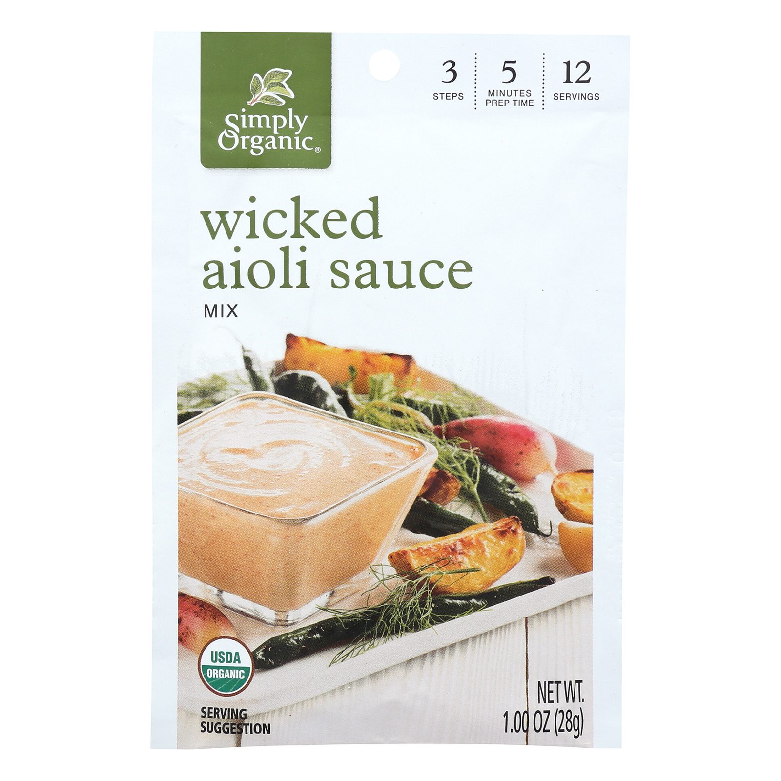 Simply Organic Wicked Aioli Sauce Mix - Case of 12 - 1 oz.