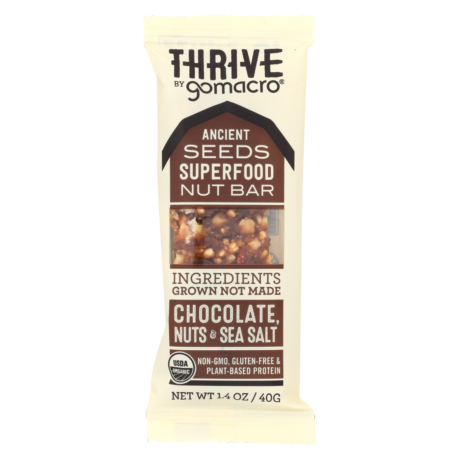 Gomacro Nuts and Sea Salt - Chocolate - Case of 12 - 1.4 oz.