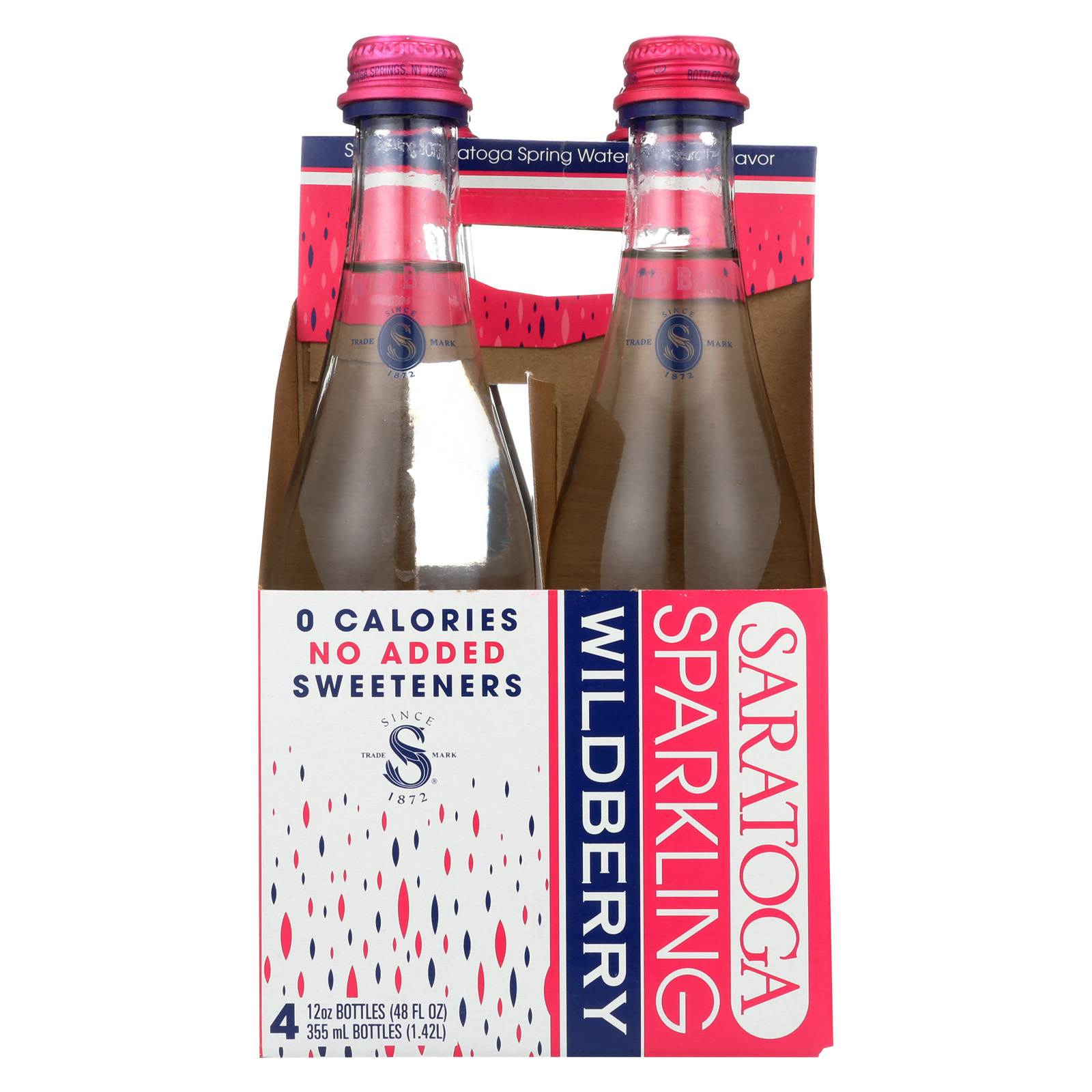 Saratoga Springs Water Sparkling Water - Wild Berry - Case of 6 - 12 Fl oz.