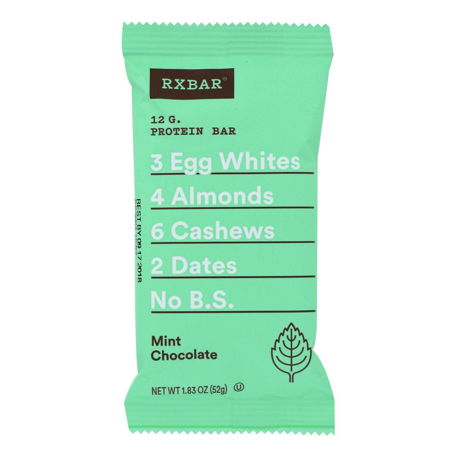 Rxbar Protein Bar - Mint Chocolate - Case of 12 - 1.83 oz.