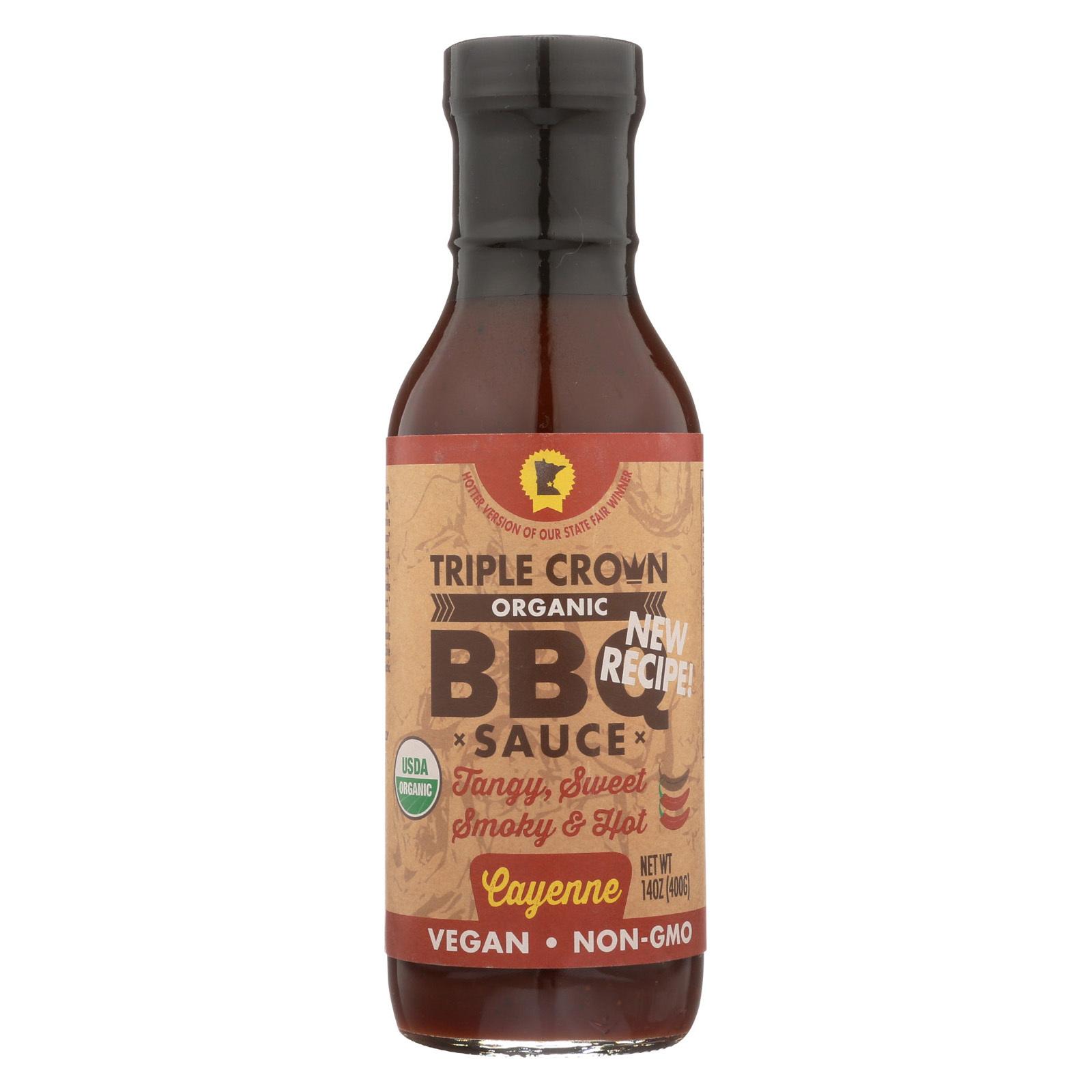 Triple Crown BBQ Sauce - Cayenne - Case of 6 - 14 fl oz