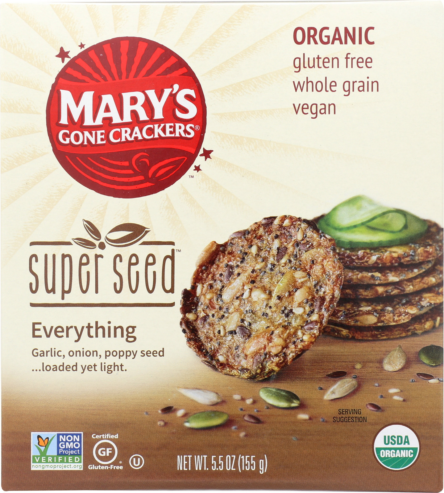 Mary's Gone Crackers Super Seed - Everything - Case of 6 - 5.5 oz.