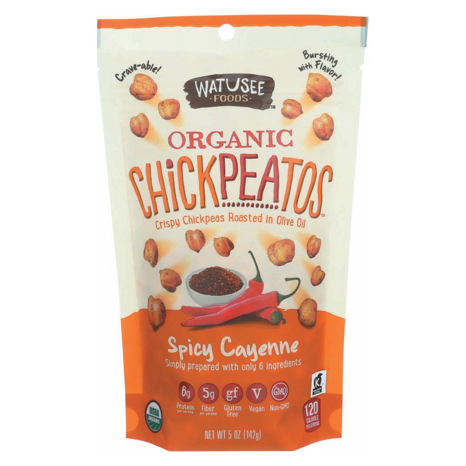 Watusee Foods Organic Chickpeas - Spicy Cayenne - Case of 12 - 5 oz