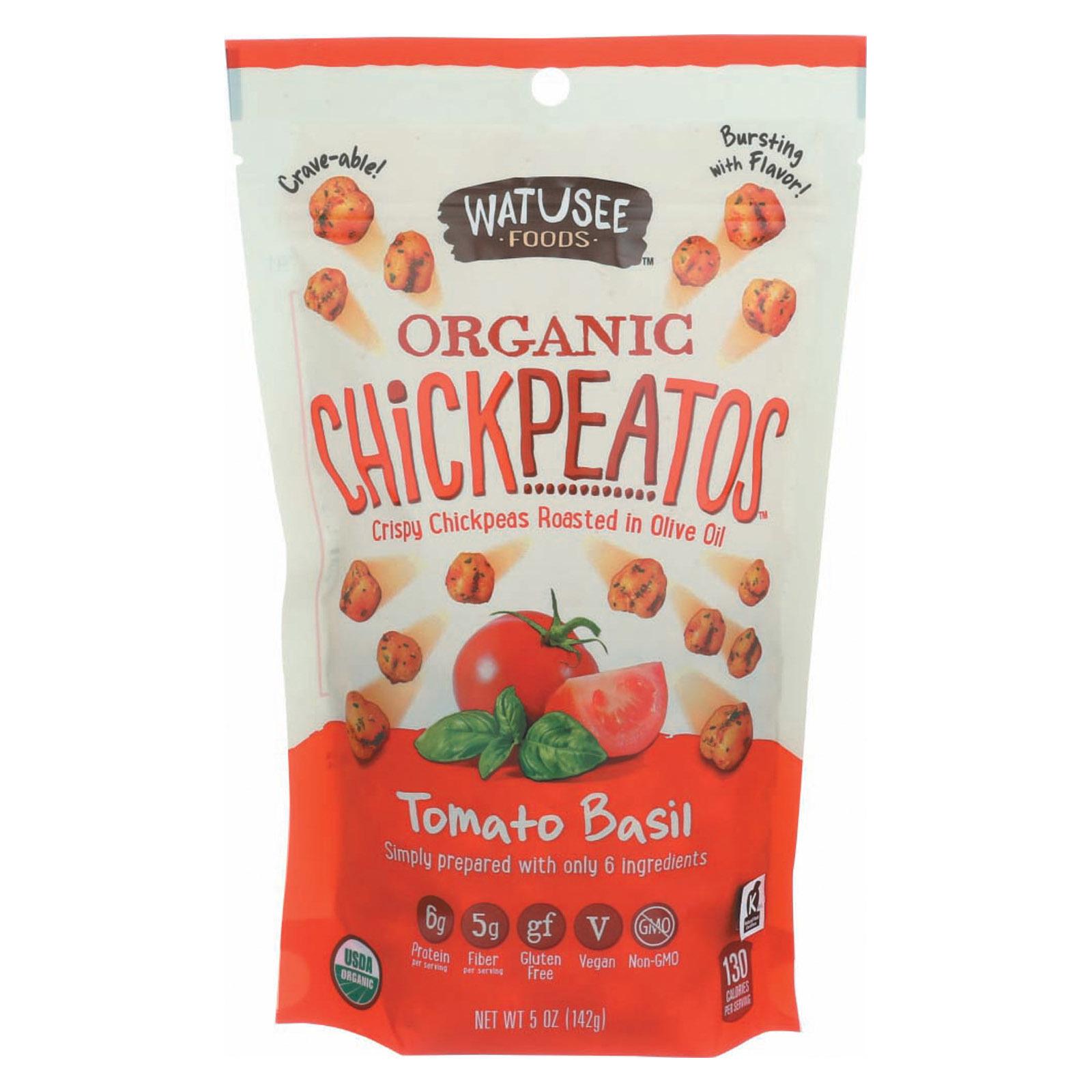 Watusee Foods Organic Chickpeas - Tomato Basil - Case of 12 - 5 oz