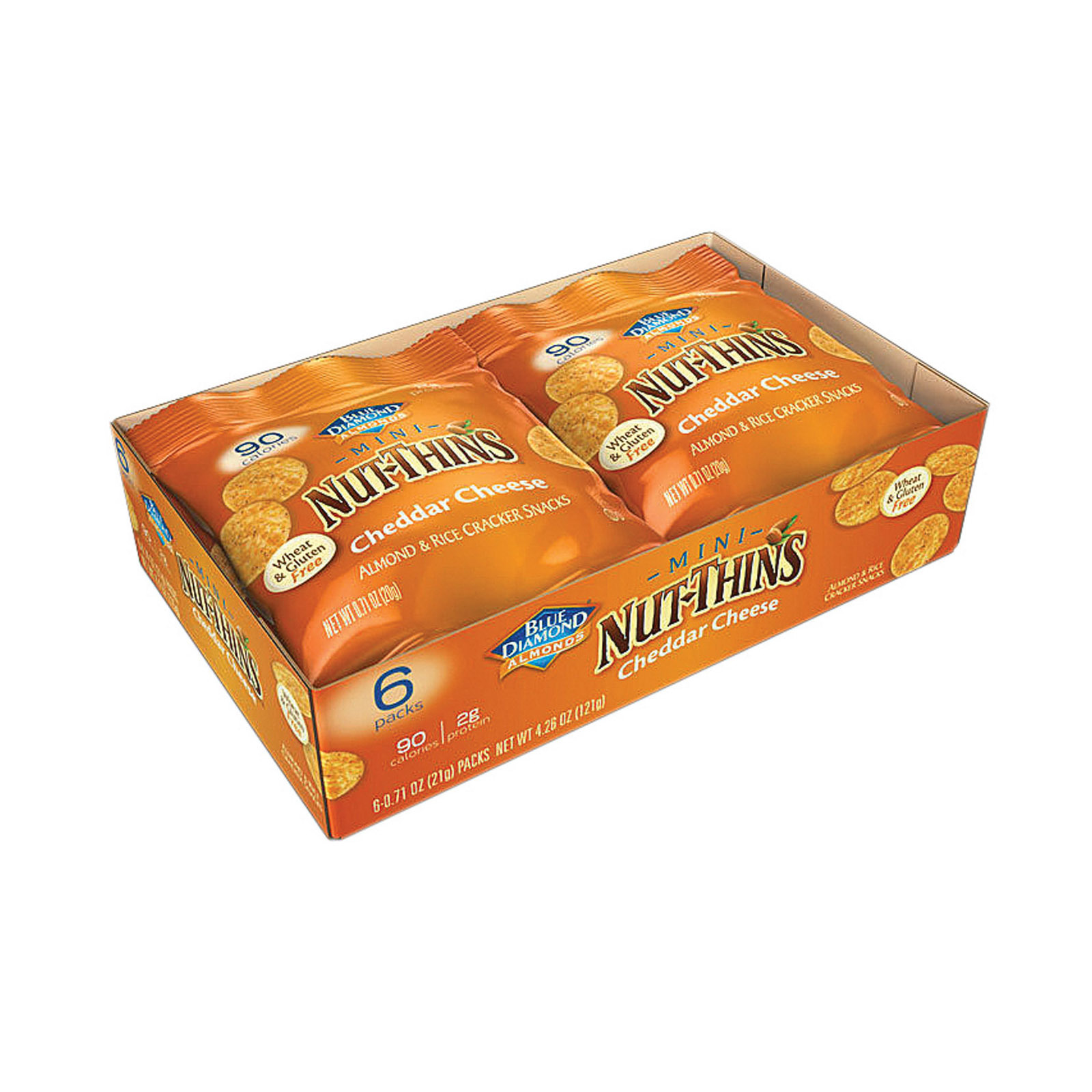Blue Diamond Mini Nut Thins - Cheddar - Case of 6 - 6/.71 oz