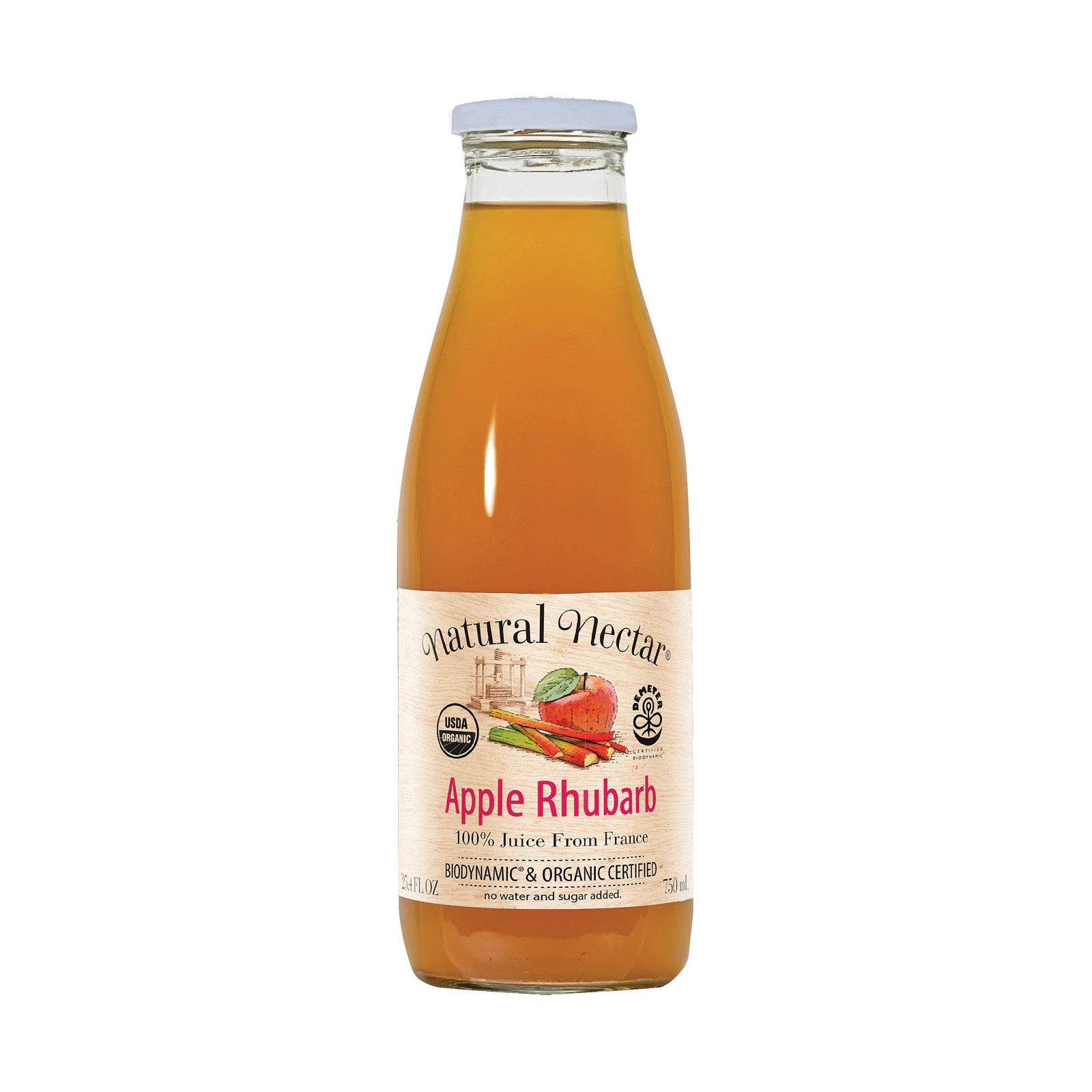 Natural Nectar Fruit Juices - Apple Rhubarb - Case of 6 - 25.4 Fl oz.