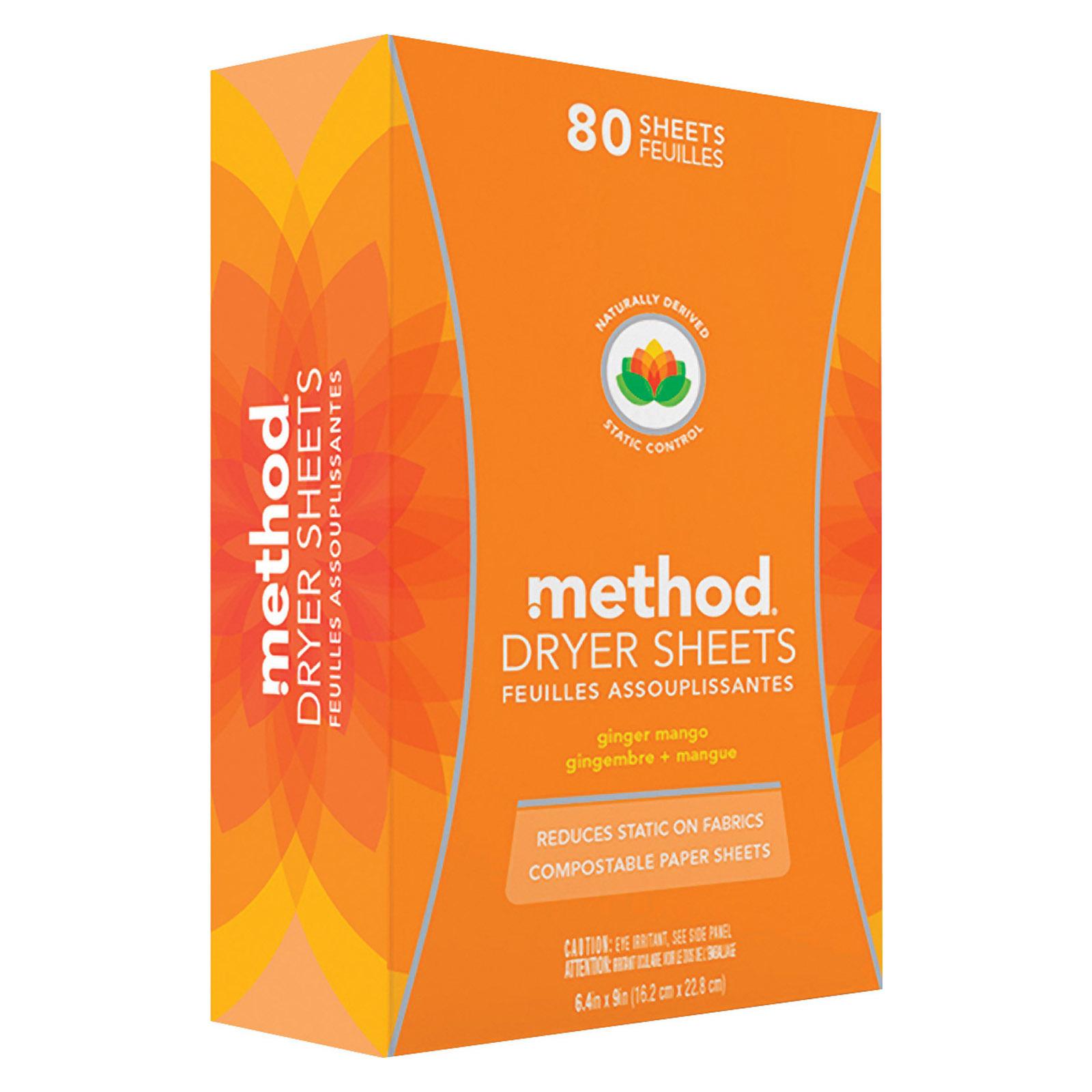 Method Dryer Sheets - Ginger Mango - Case of 6 - 80 Count