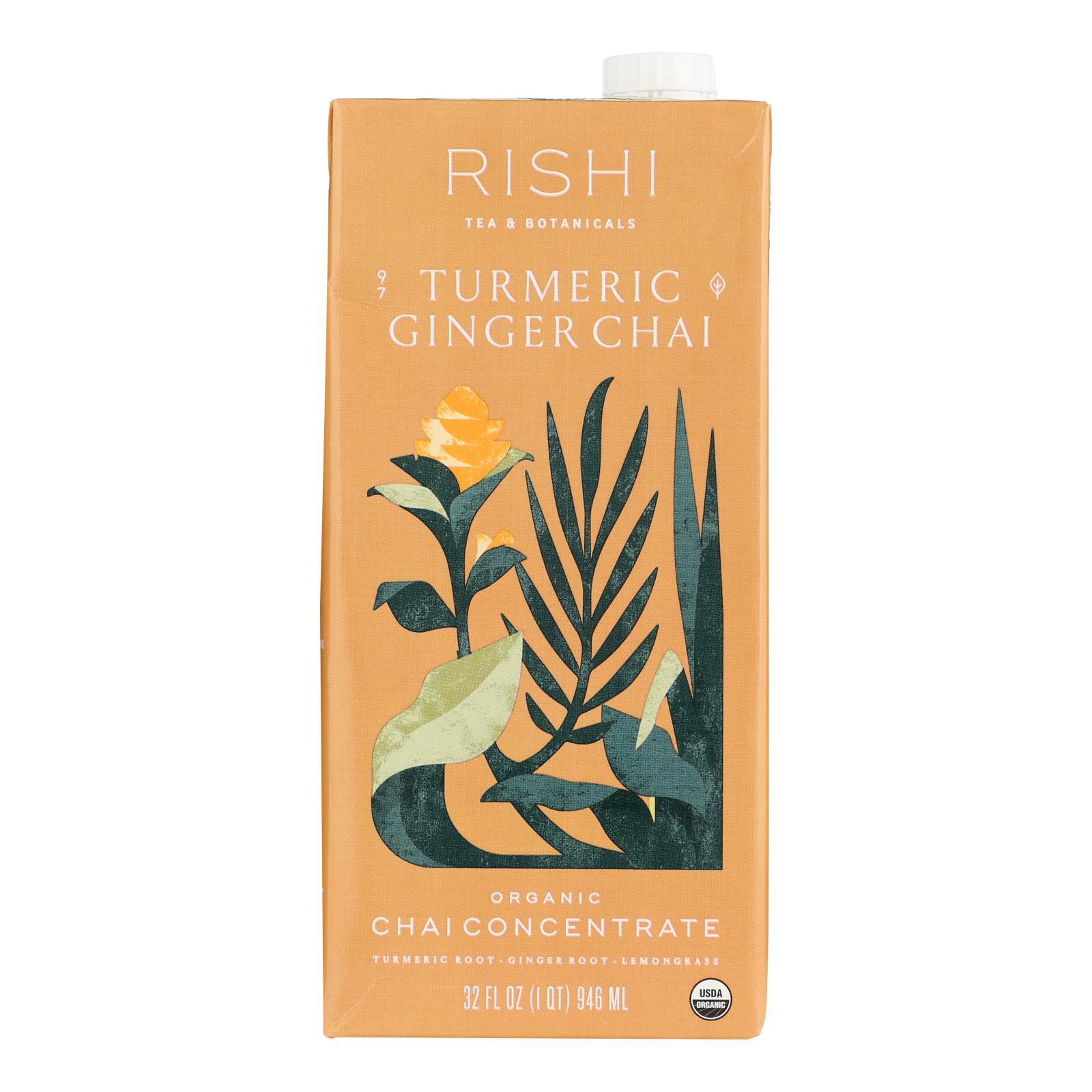 Rishi Chai Concentrate - Turmeric Ginger - Case of 12 - 32 Fl oz.