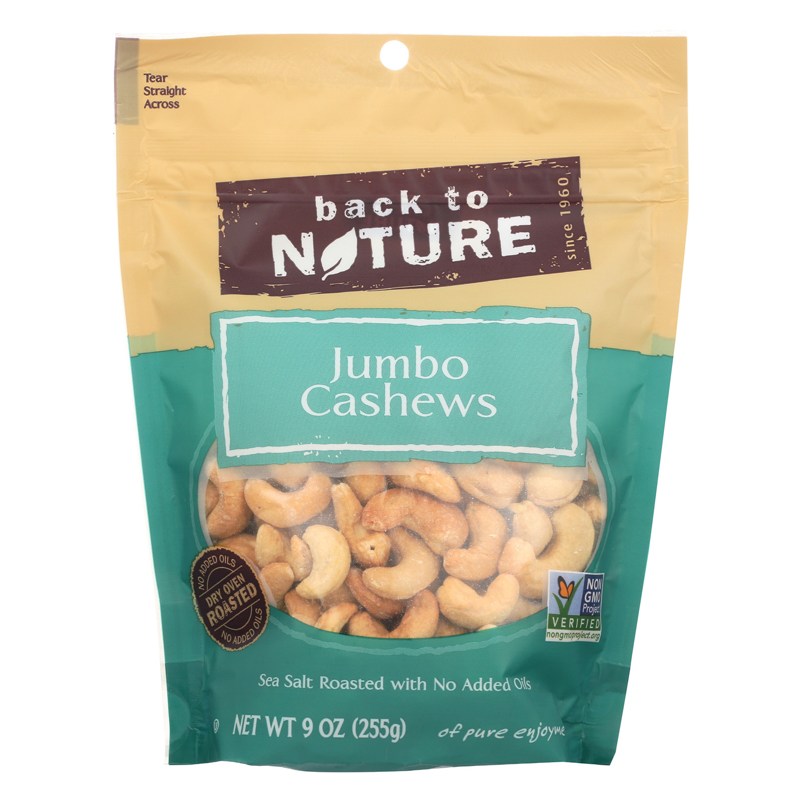 Back To Nature Cashew - Sea Salt Roasted, Jumbo - Case of 9 - 9 oz.