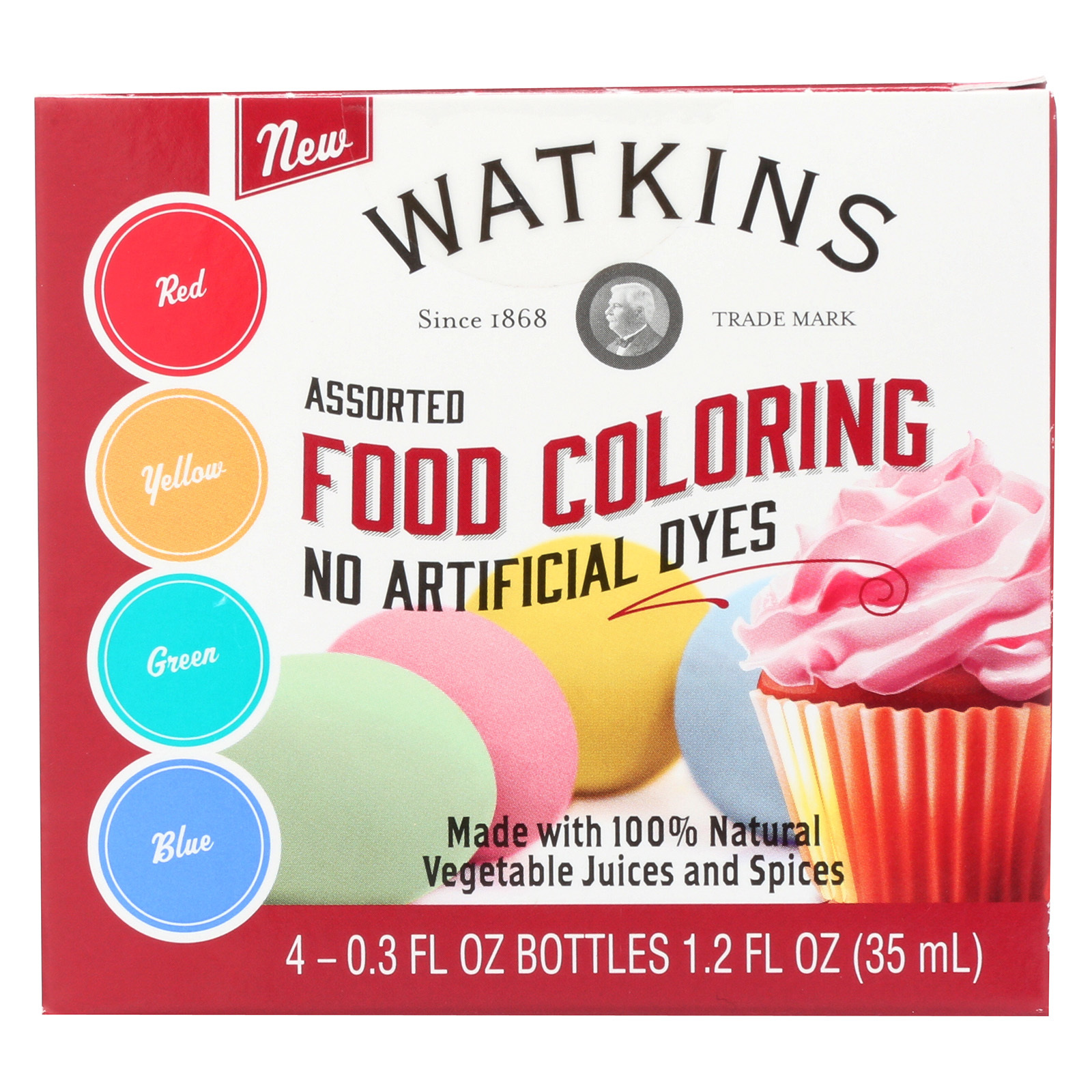 J.R. Watkins Food Coloring - Assorted - Case of 6 - 4 Count