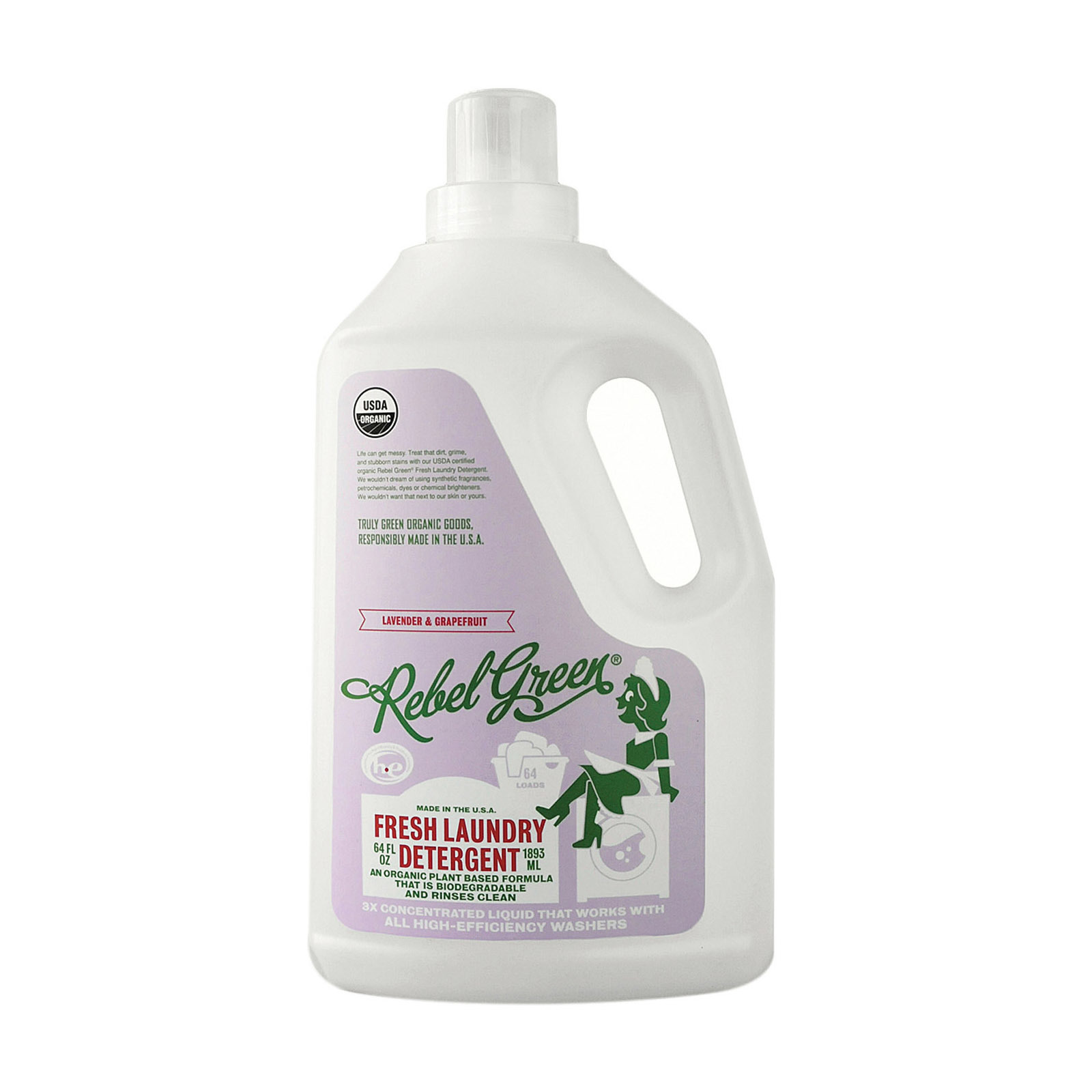 Rebel Green Laundry Detergent - Lavender and Grapefruit - Case of 4 - 64 fl oz