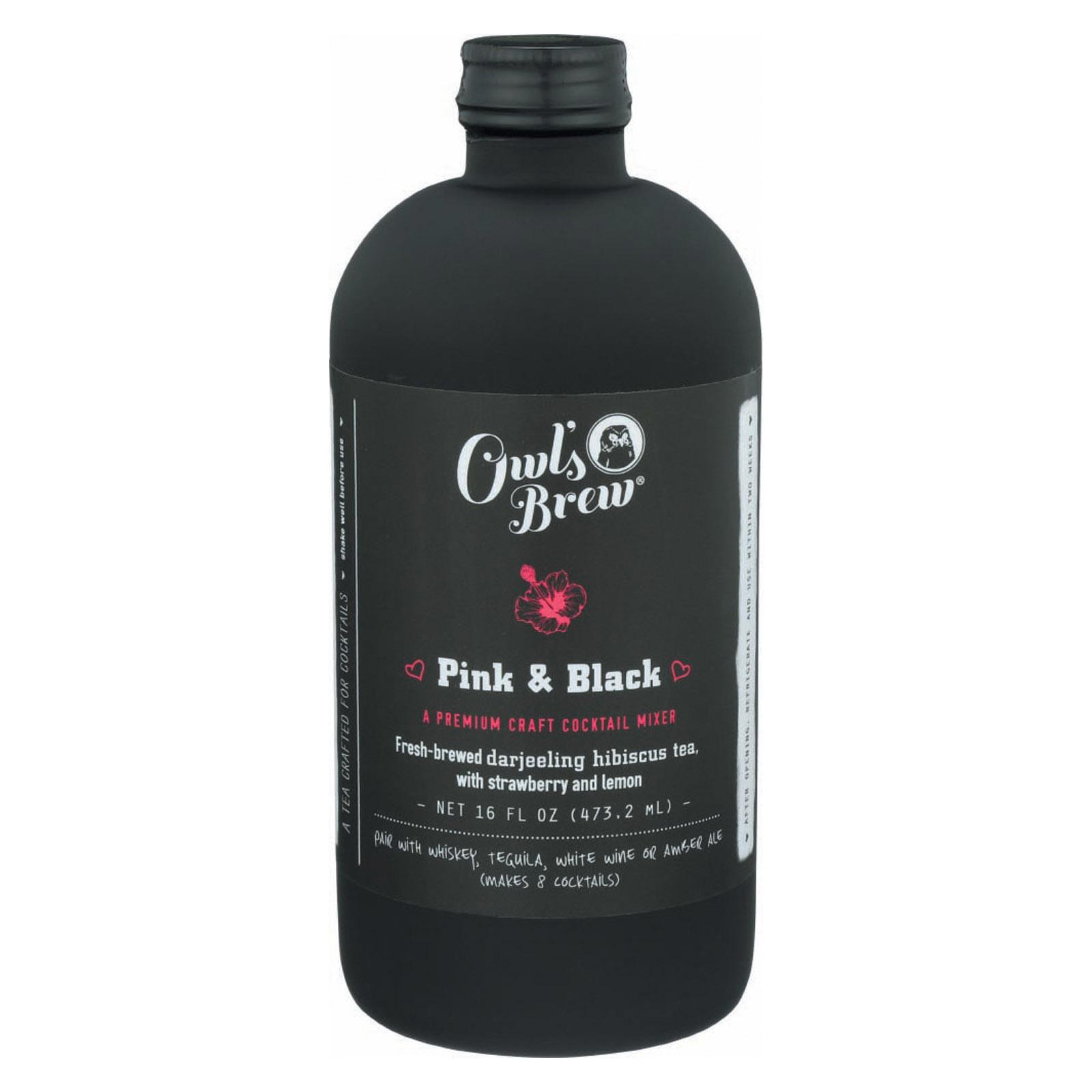Owl's Brew Cktl Mixr - Pink & Black - Case of 6 - 16 fl oz