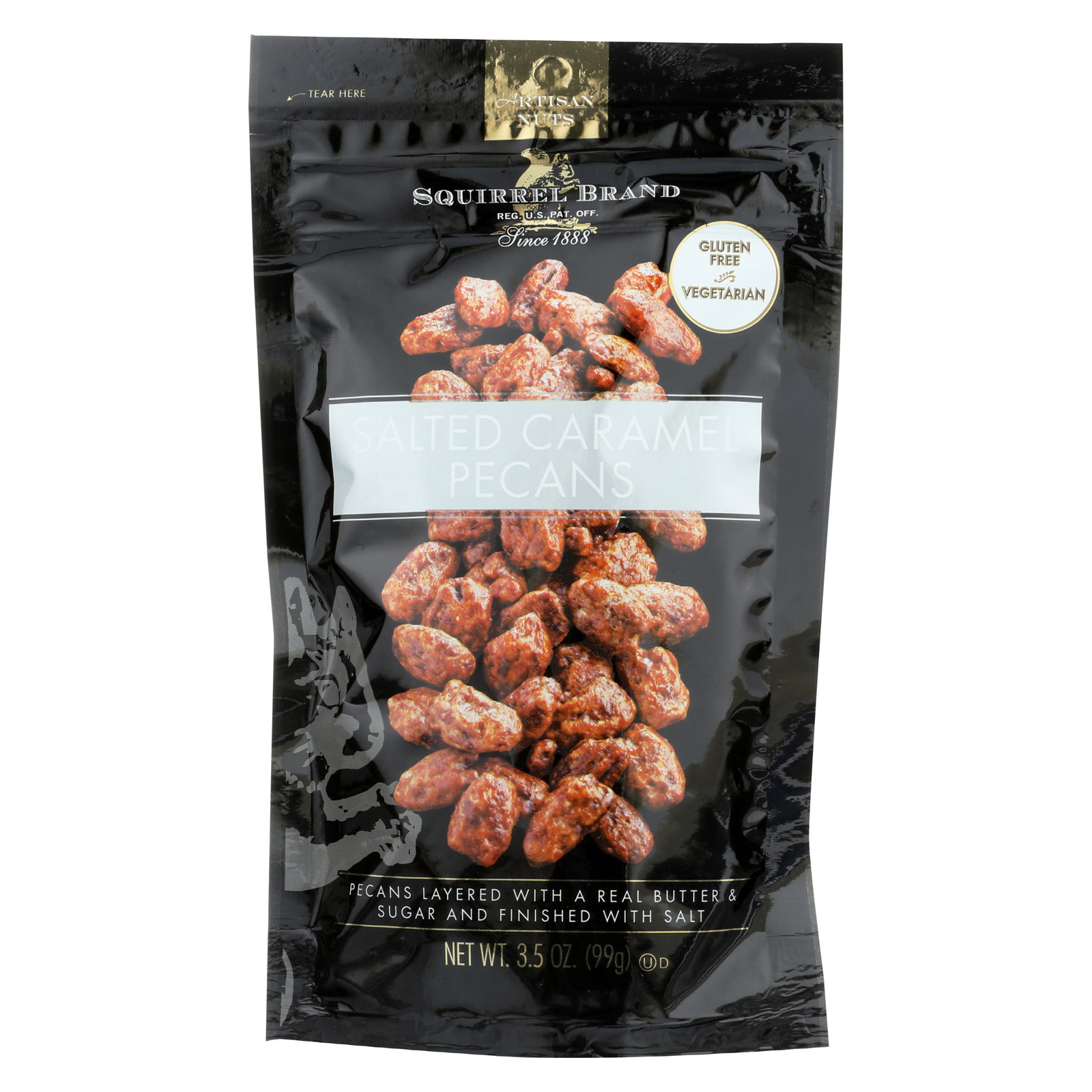 Squirrel Brand Pecans - Salted Caramel - Case of 6 - 3.5 oz