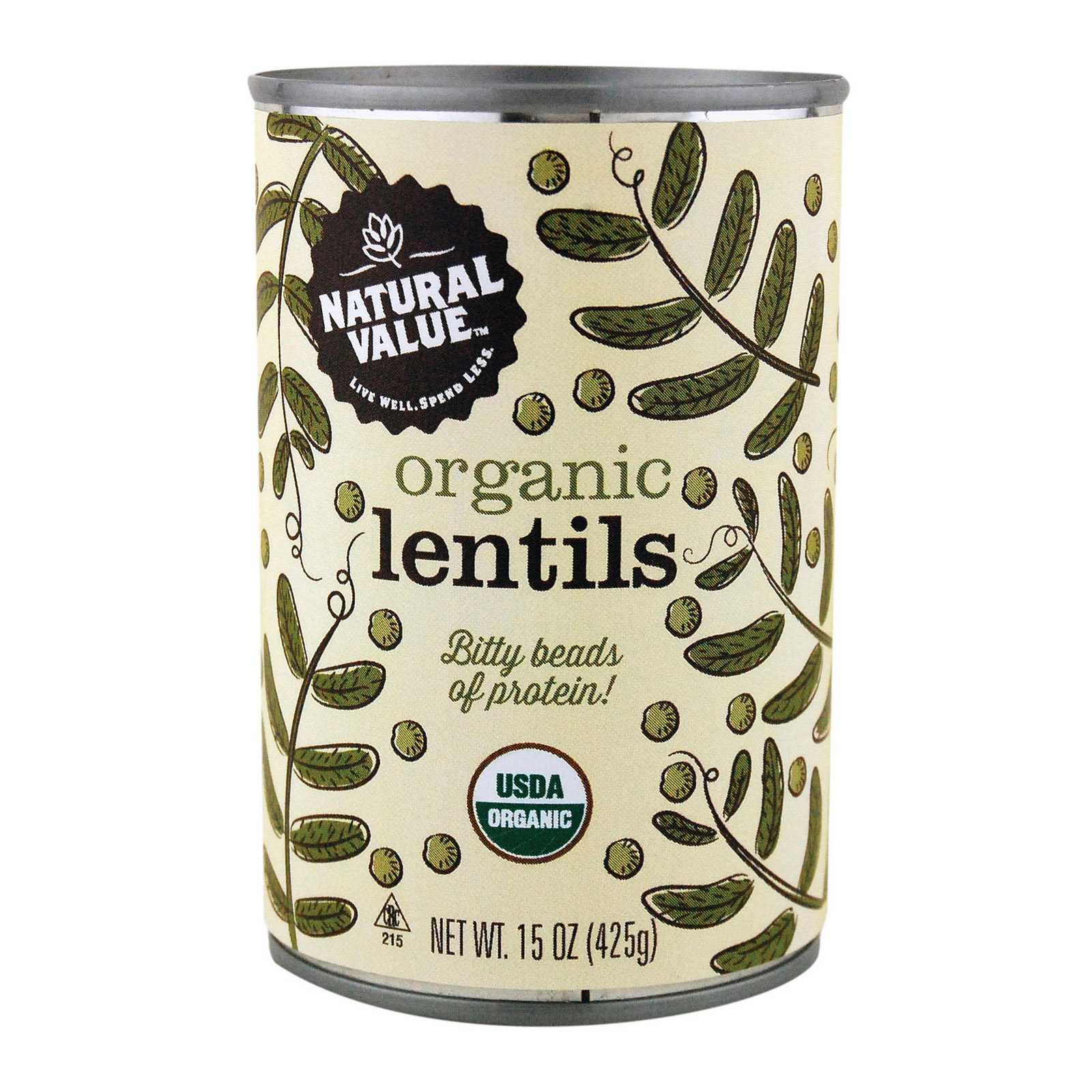 Natural Value Beans - Organic - Lentils - Case of 12 - 15 oz