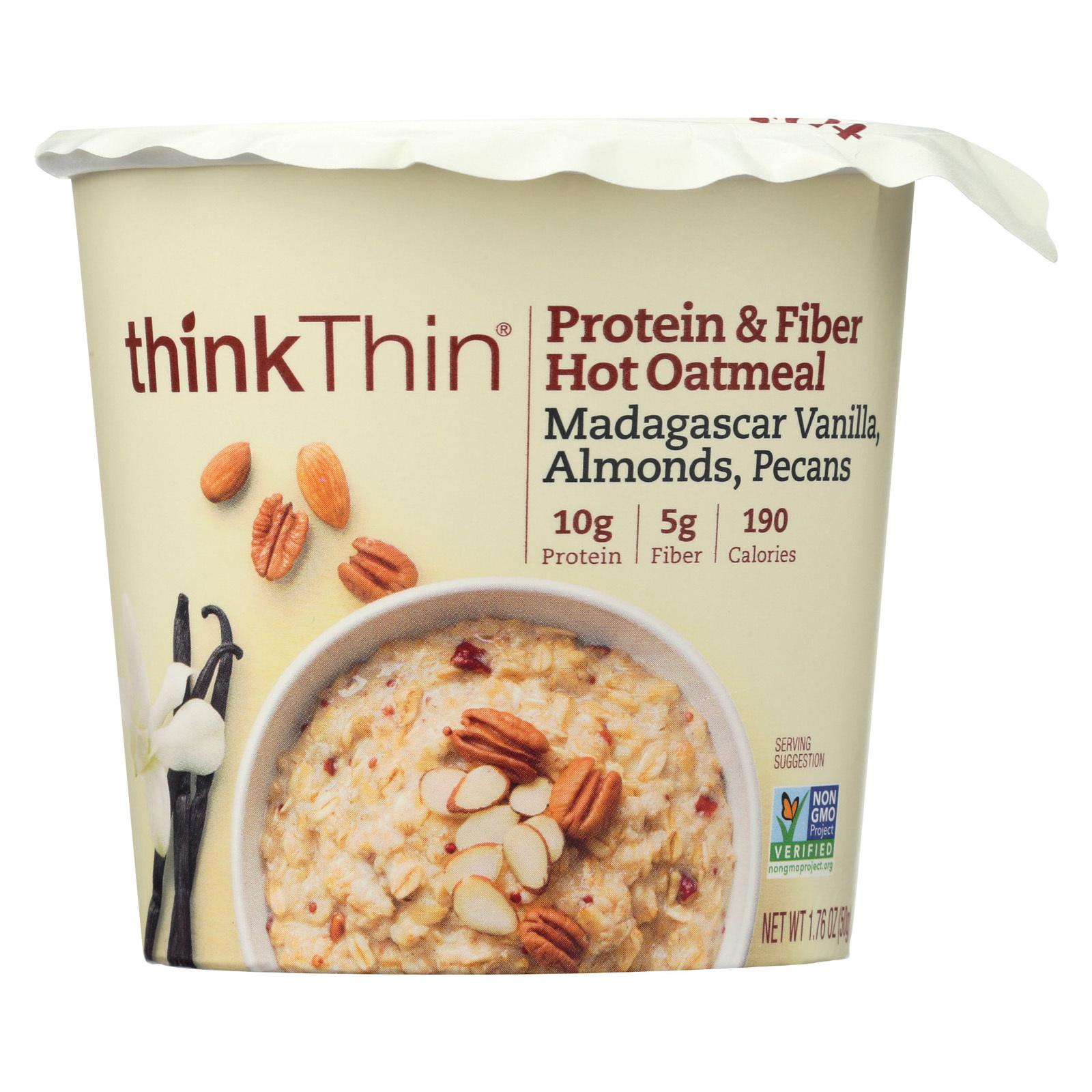Think! Thin Protein & Fiber Hot Oatmeal -Vanilla - Almonds - Pecan - Case of 6 - 1.76 oz