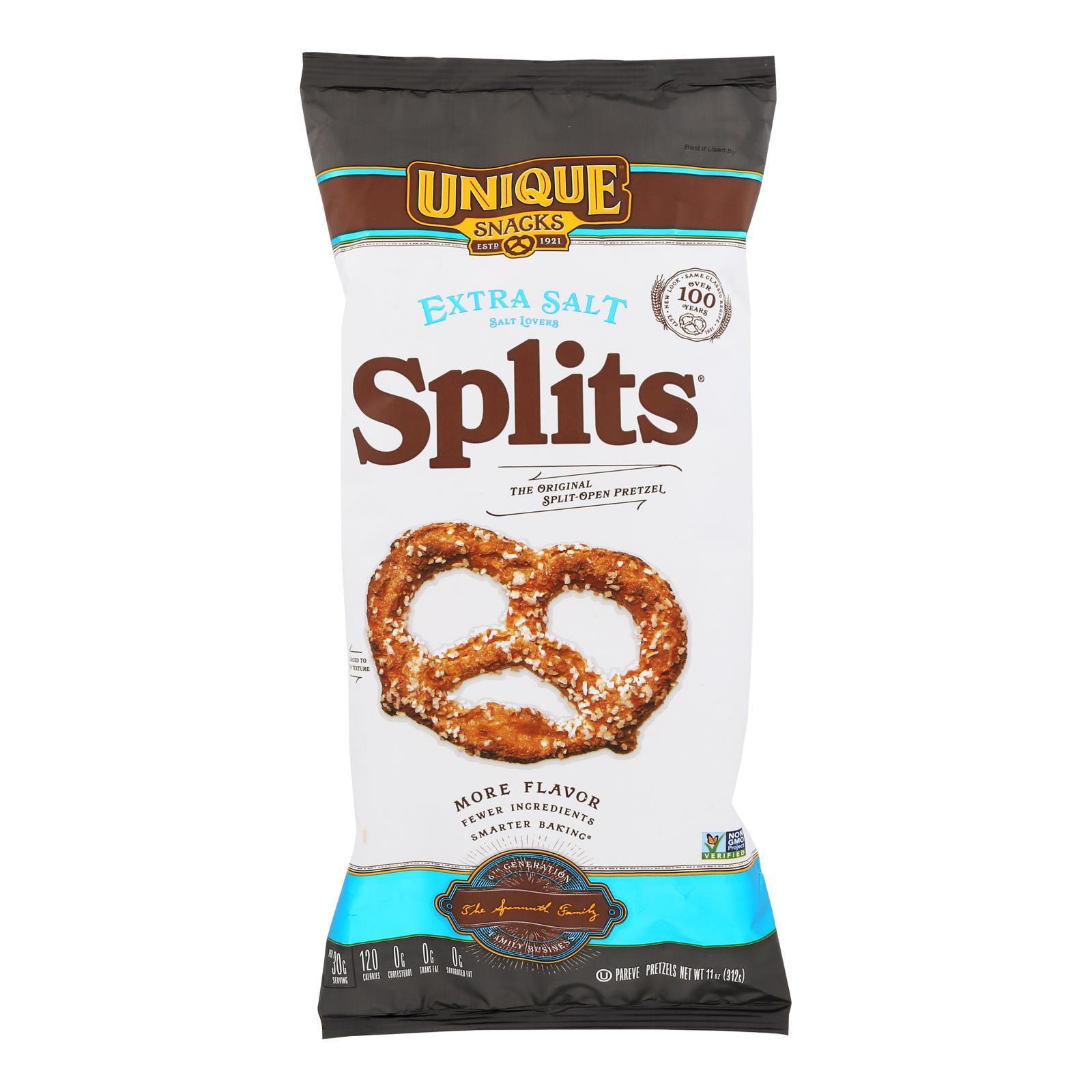 Unique Pretzels Pretzels - Extra Salt Splits - Case of 12 - 11 oz