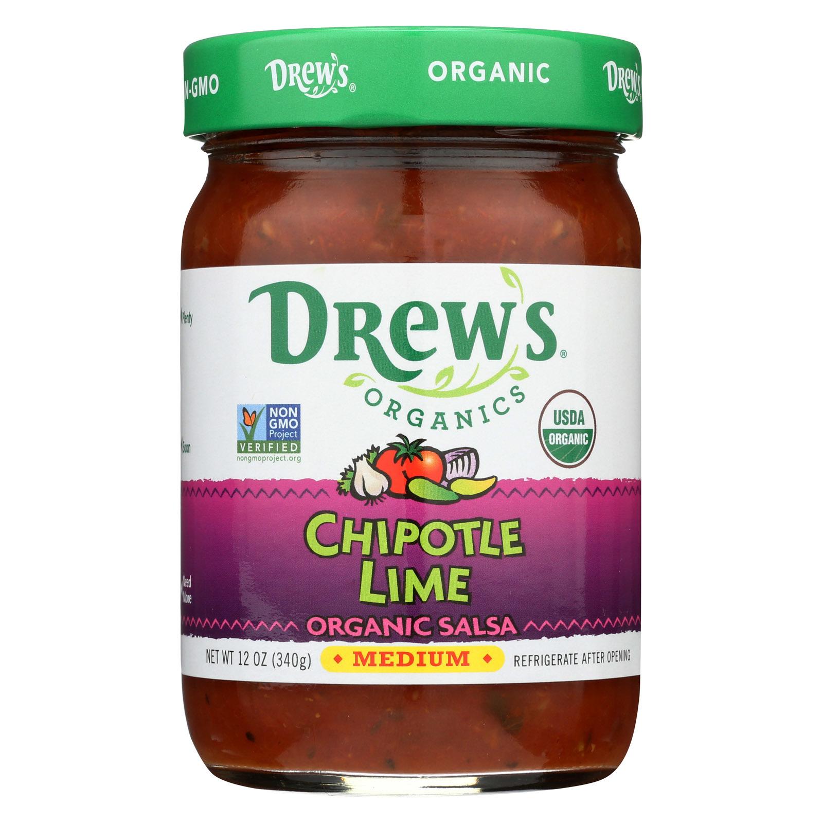 Drew's Organics Chipotle Lime Salsa - 12 Oz. - Case of 6