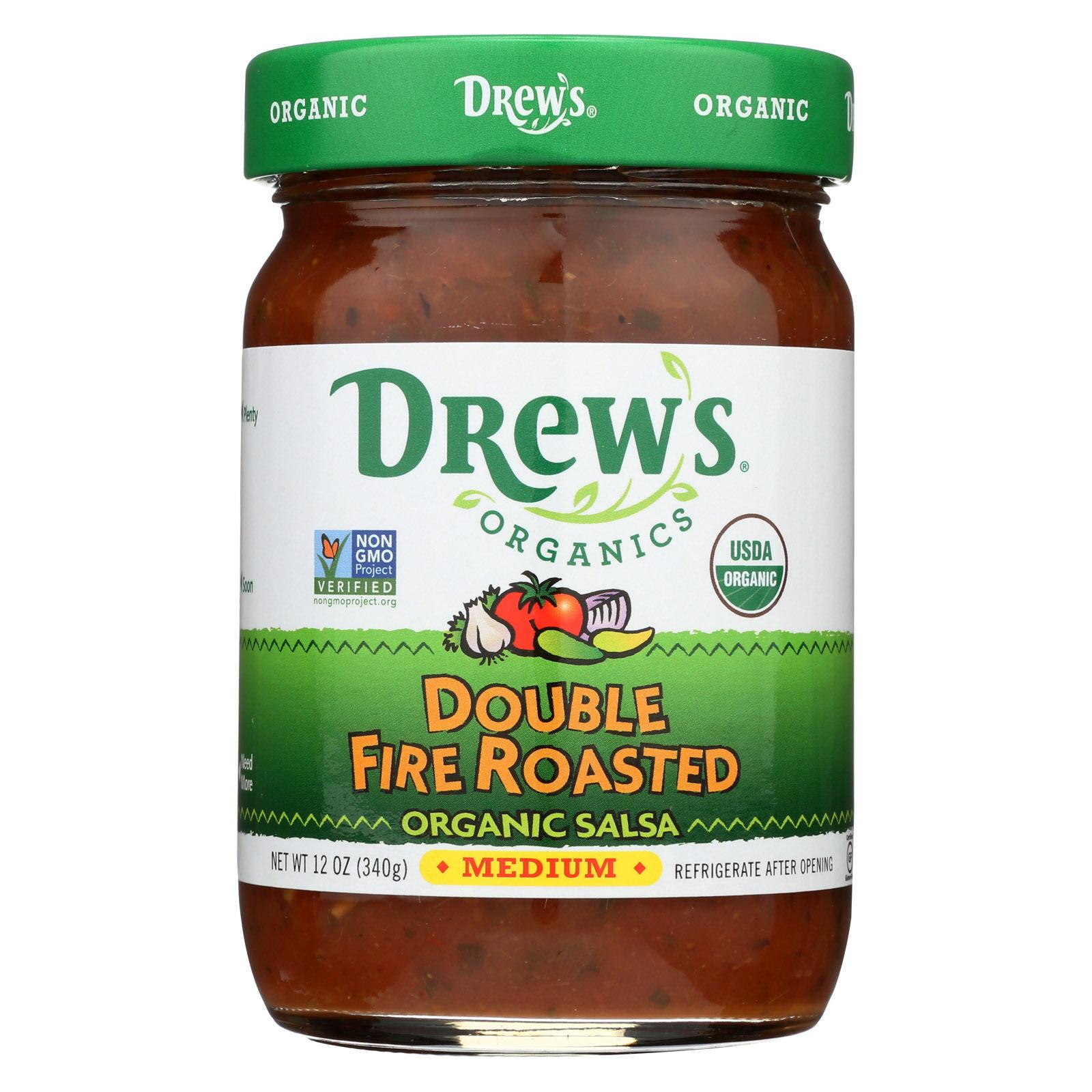 Drew's Organics Double Fire Roasted Salsa - 12 Oz. - Case of 6