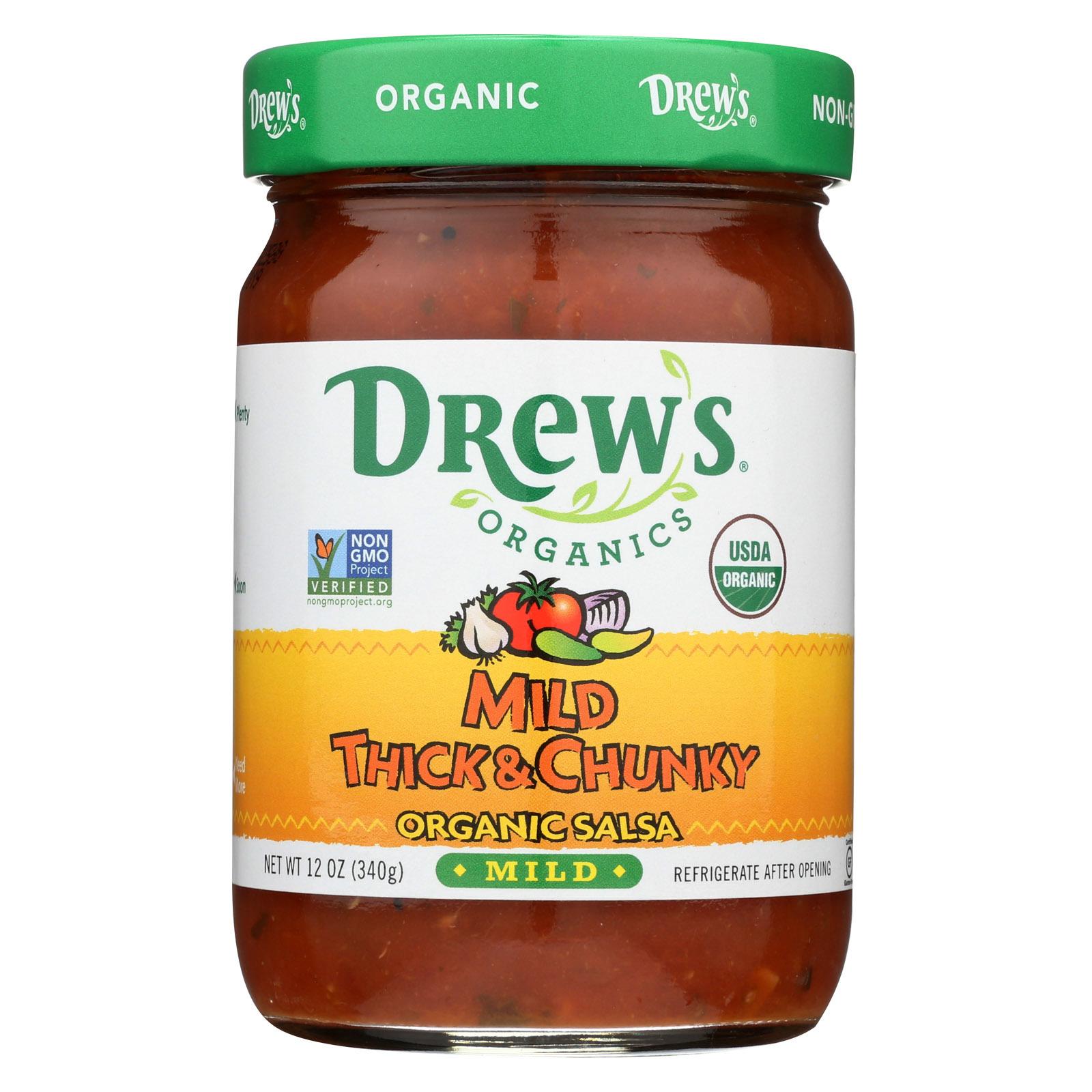 Drew's Organics Mild Thick and Chunky Salsa - 12 Oz. - Case of 6