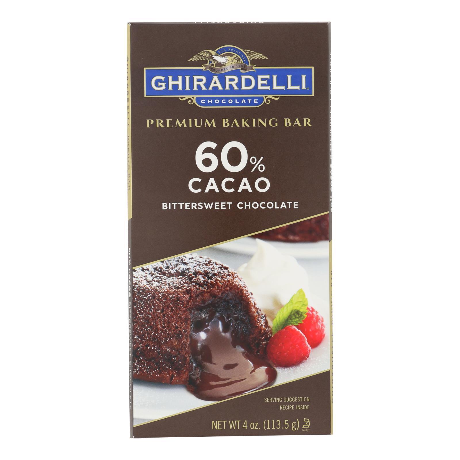 Ghirardelli Premium Baking Bar - 60% Cacao Bittersweet Chocolate - Case of 12 - 4 oz