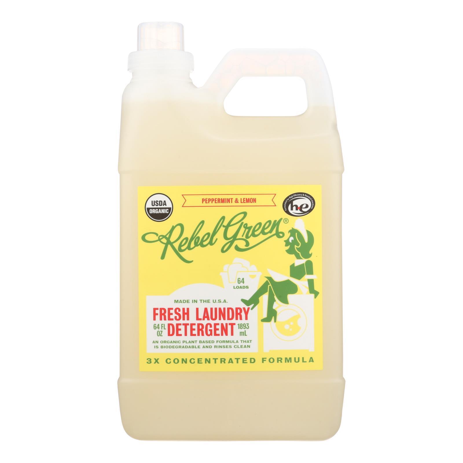Rebel Green Laundry Detergent - Organic - Peppermint and Lemon - Case of 4 - 64 fl oz