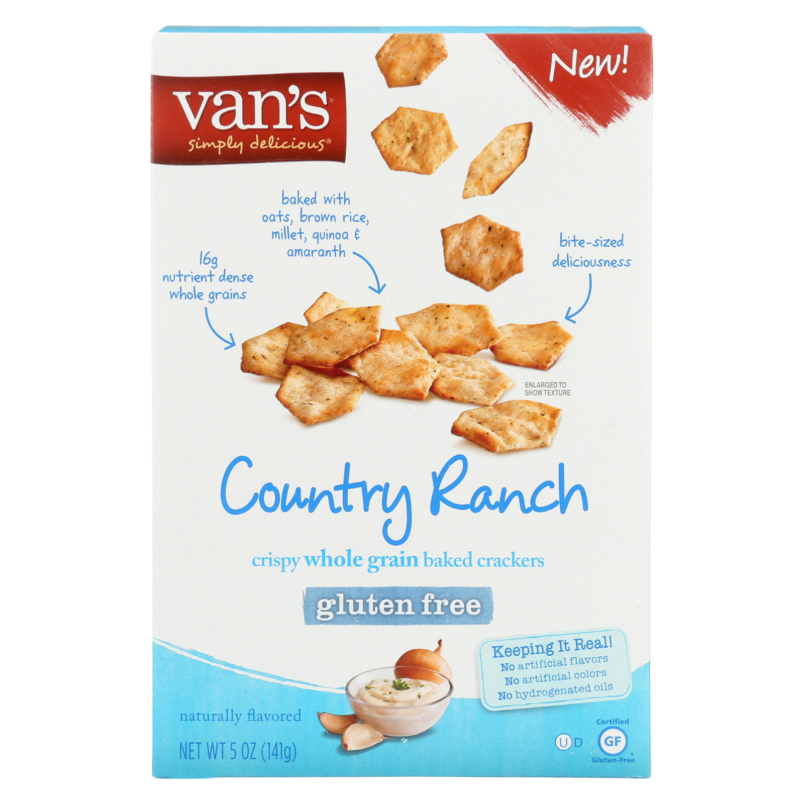 Van's Natural Foods Crackers - Country Ranch - Case of 6 - 5 oz
