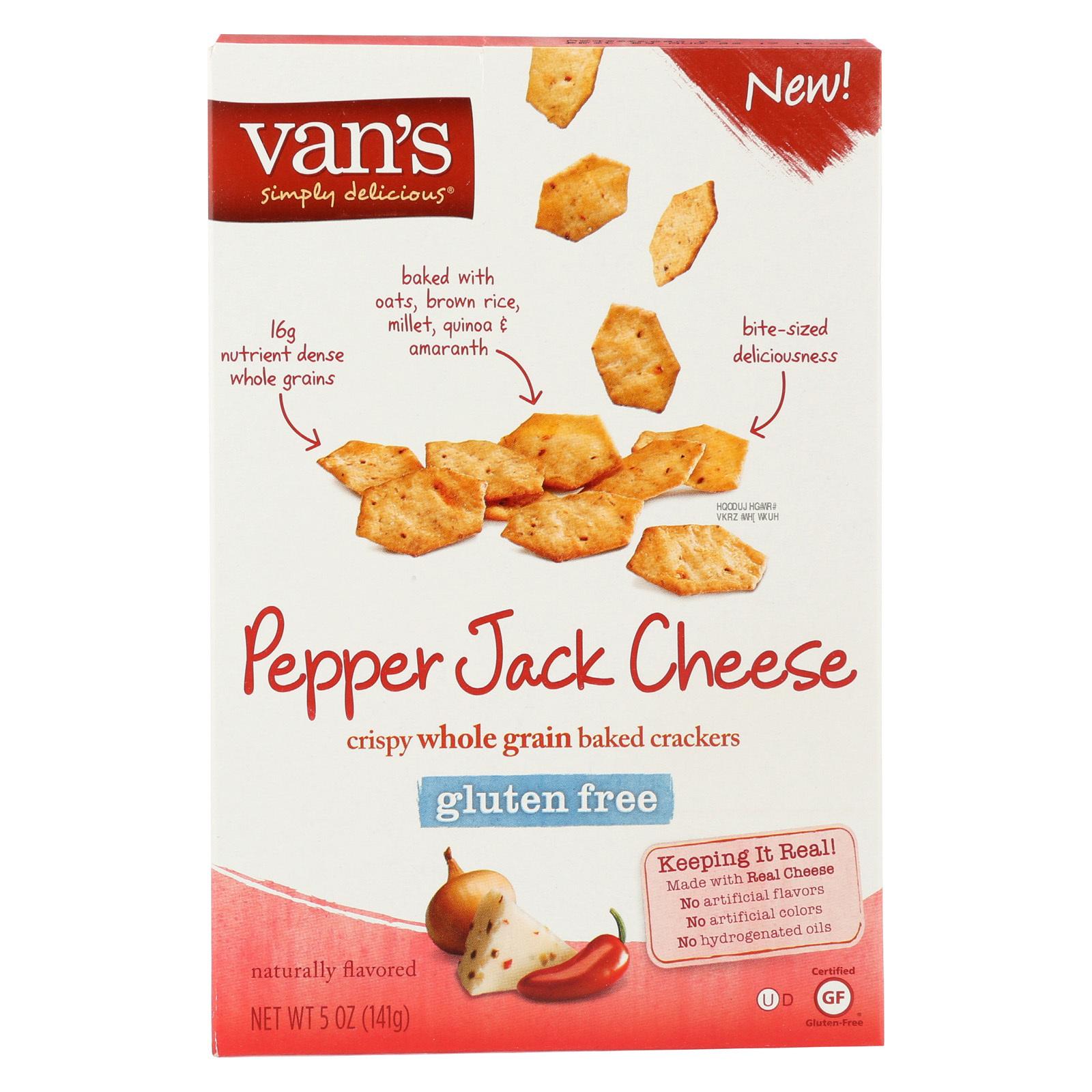 Van's Natural Foods Crackers - Peppr Jack Cheese - Case of 6 - 5 oz