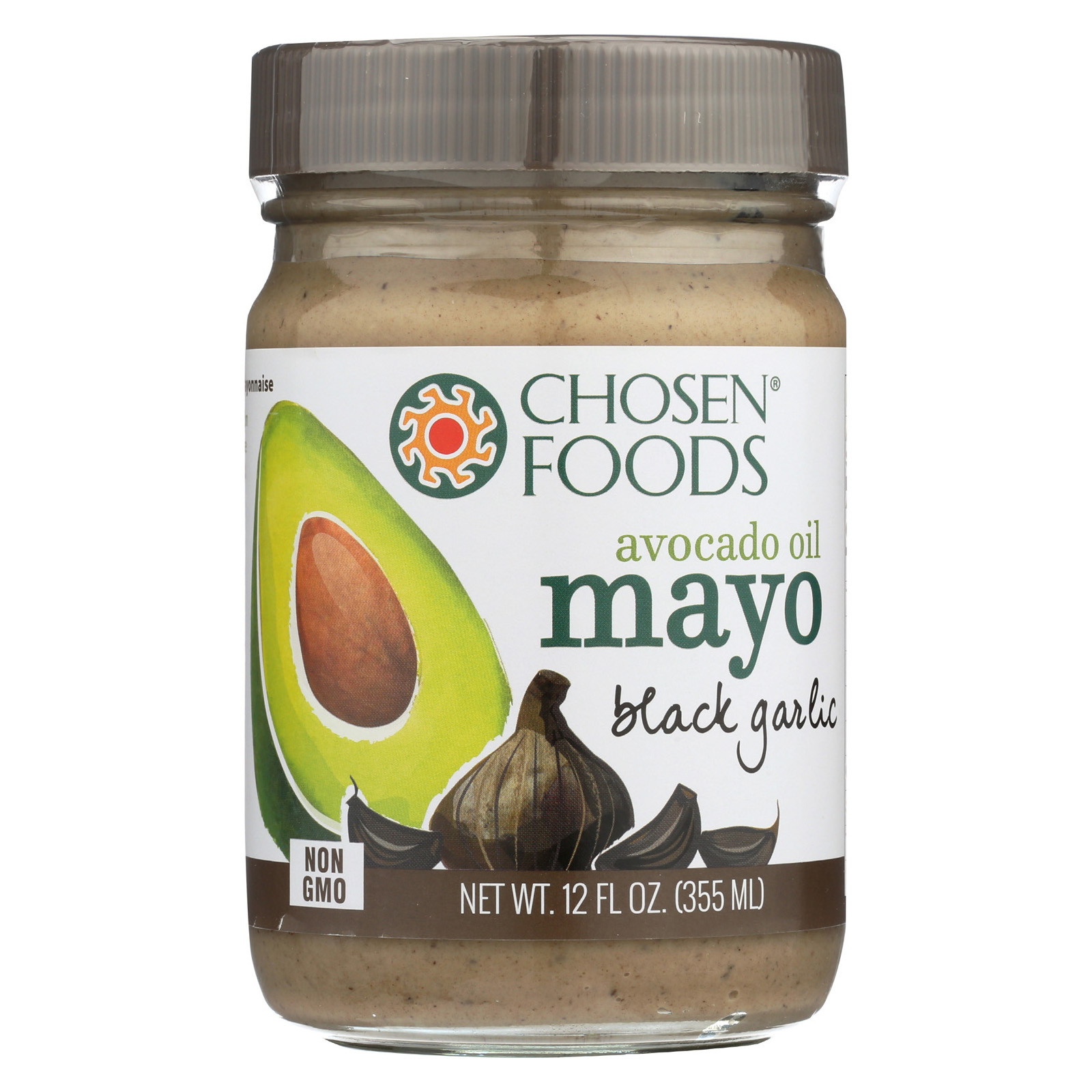 Chosen Foods Avocado Oil Mayo - Black Garlic - Case of 6 - 12 oz