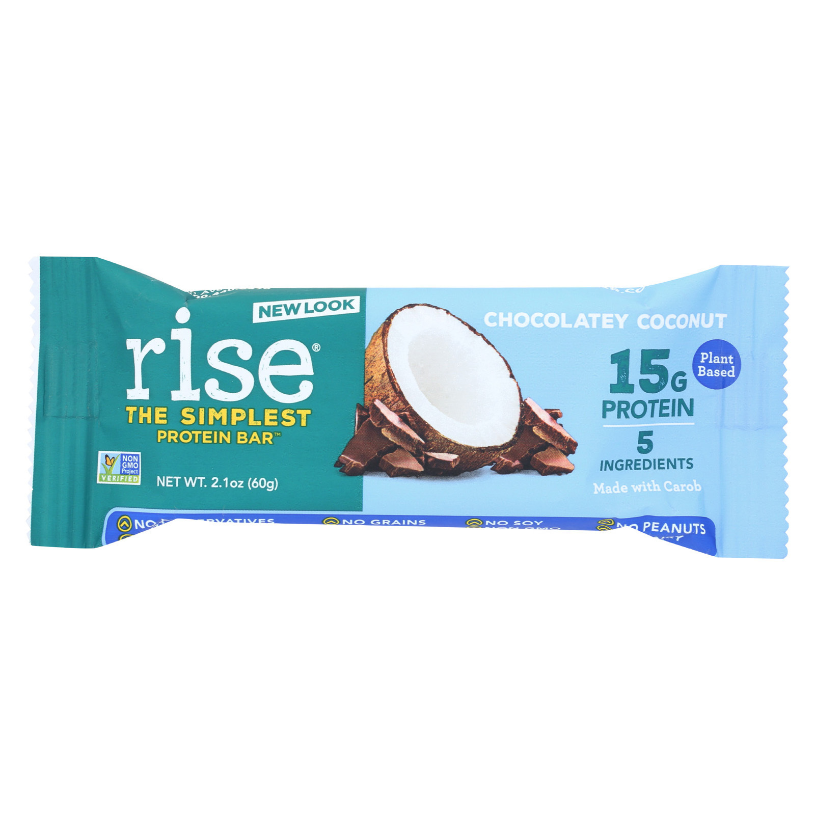 Rise Bar Protein Bar - Chocolate - Coconut - Case of 12 - 2.1 oz