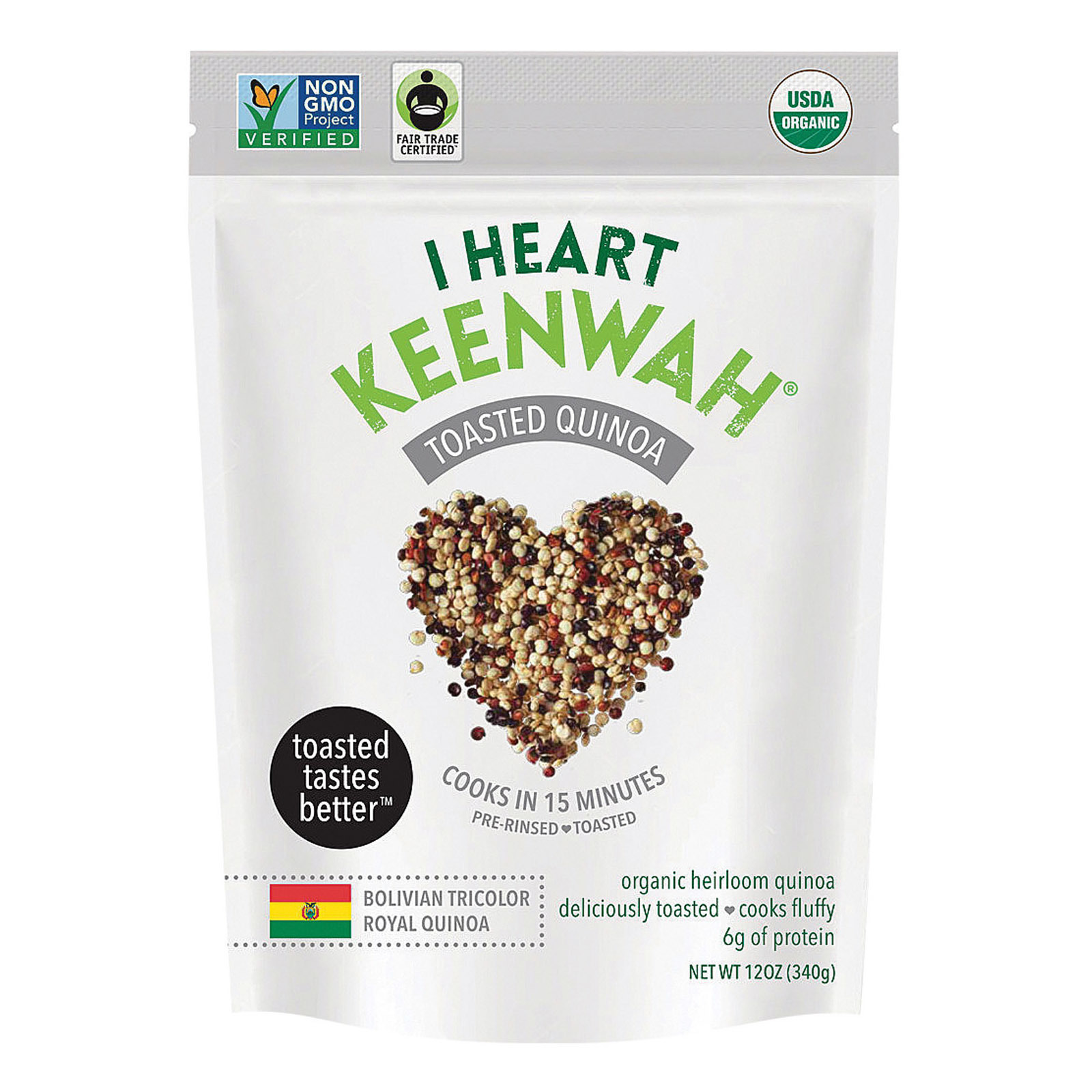 I Heart Keenwah Quinoa - Organic - Tricolor - Toasted - Case of 6 - 12 oz