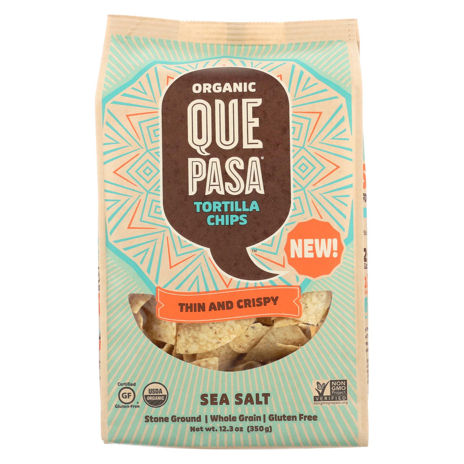 Que Pasa Tort Chip - Organic - Thin - Sea Salt - Case of 12 - 12.3 oz