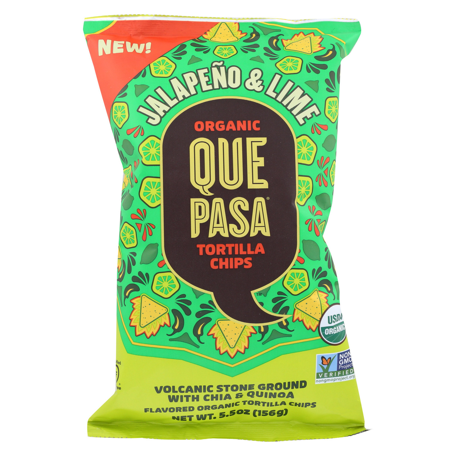 Que Pasa Tort Chips - Organic - Jalapeno Lime - Case of 12 - 5.5 oz