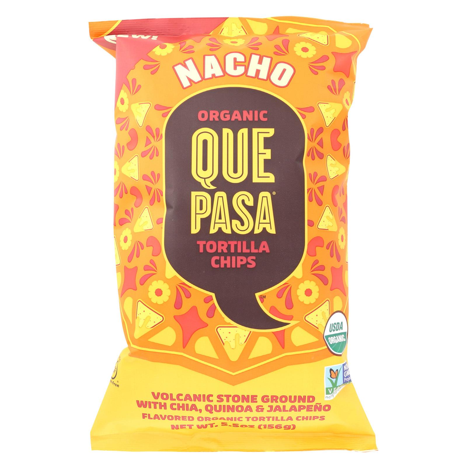 Que Pasa Tortilla Chips - Organic - Nacho - Vegan - Case of 12 - 5.5 oz