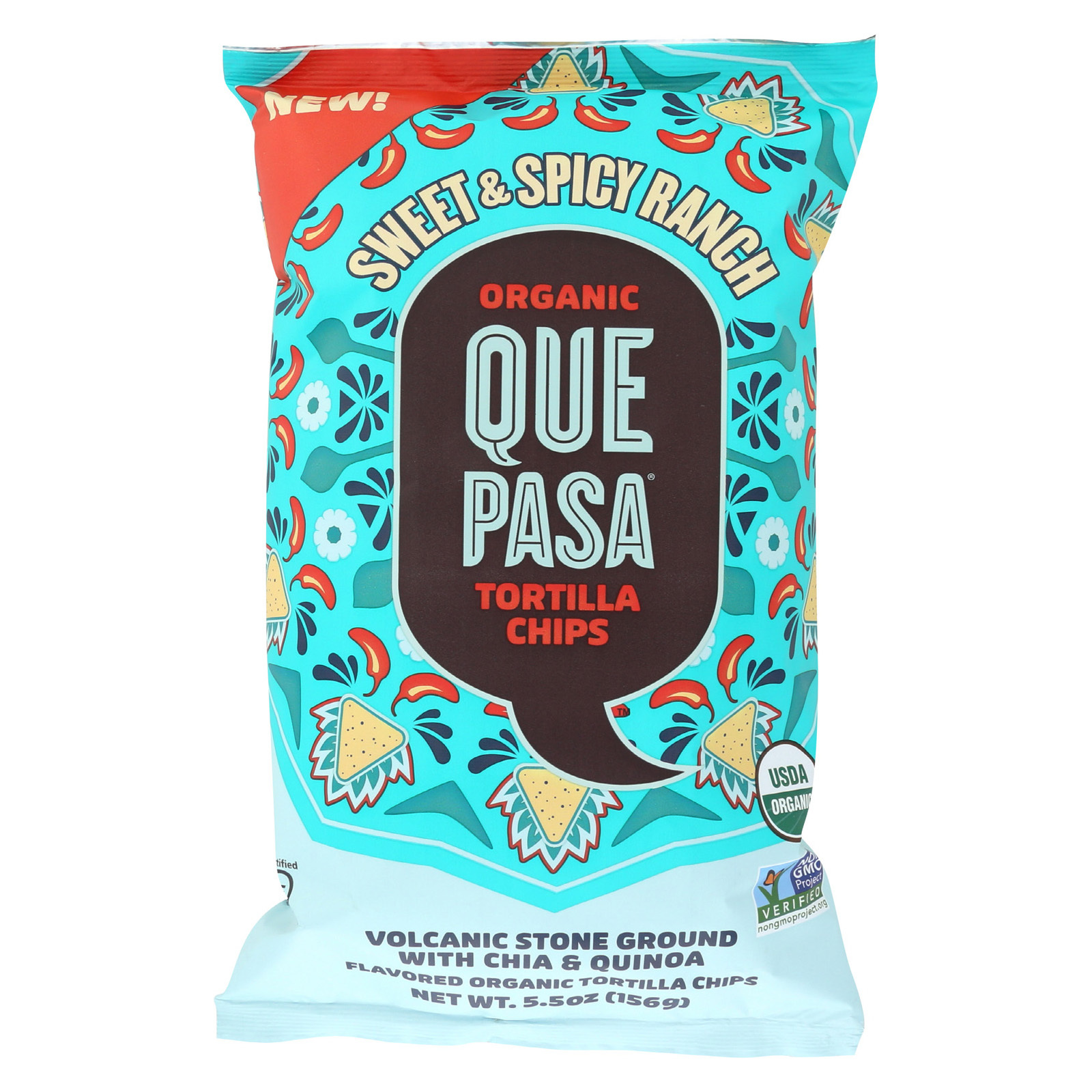 Que Pasa Tort Chips - Organic - Sweet & Spicy - Case of 12 - 5.5 oz