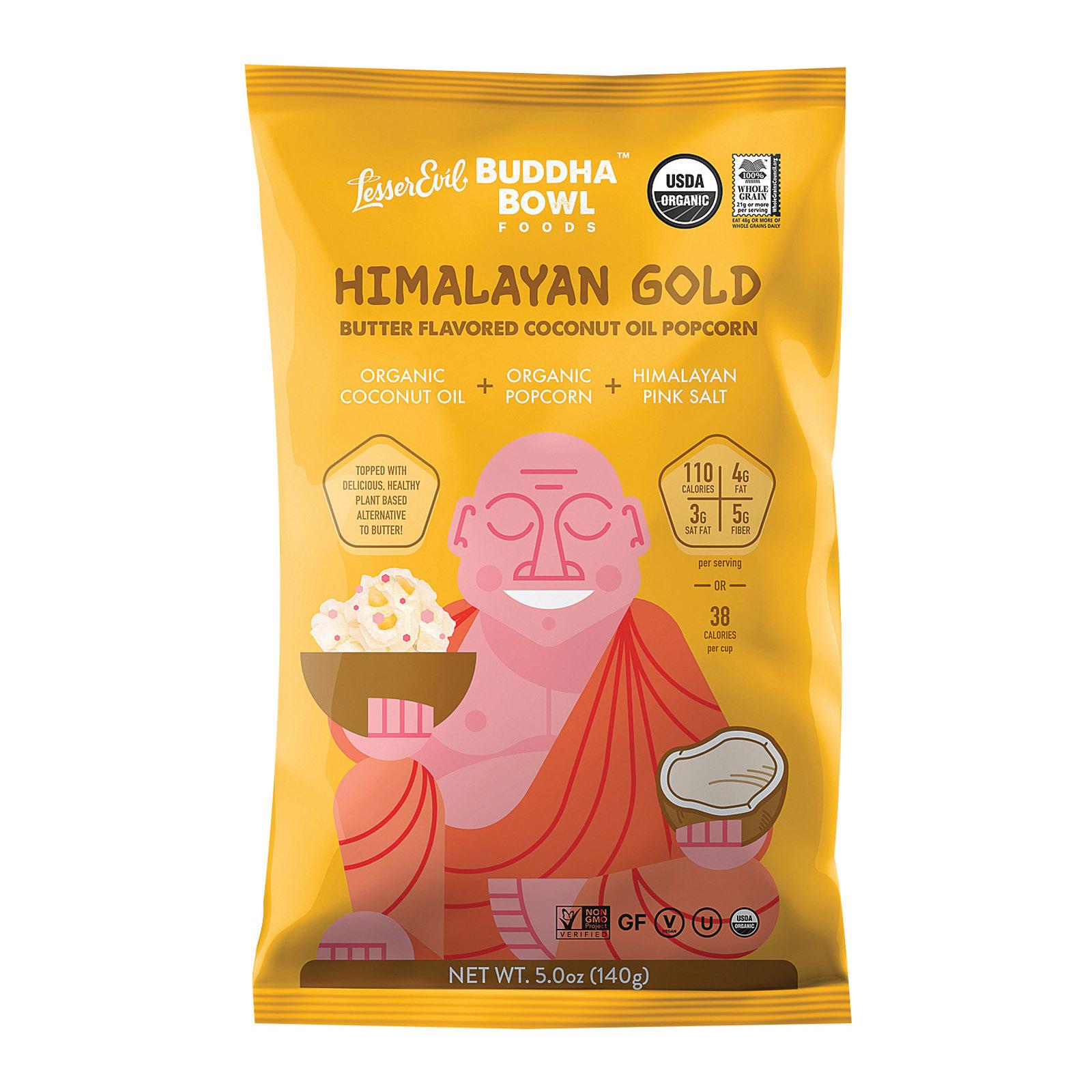 Lesser Evil Organic Buddha Bowl Popcorn - Himalayan Gold - Case of 12 - 5 oz