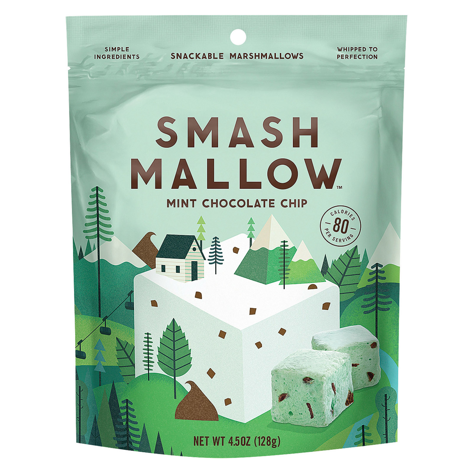 Smashmallow Snackable Marshmallows - Mint Chocolate Chip - Case of 12 - 4.5 oz