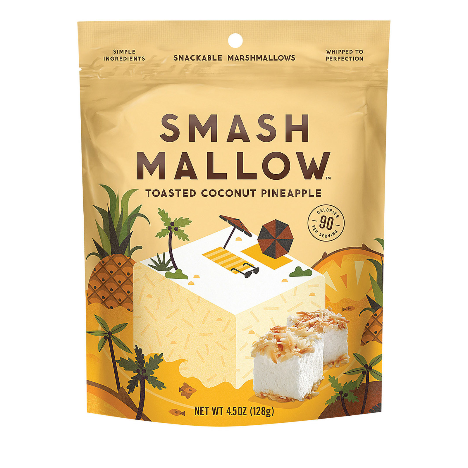 Smashmallow Snackable Marshmallows - Toasted Coconut Pineapple - Case of 12 - 4.5 oz