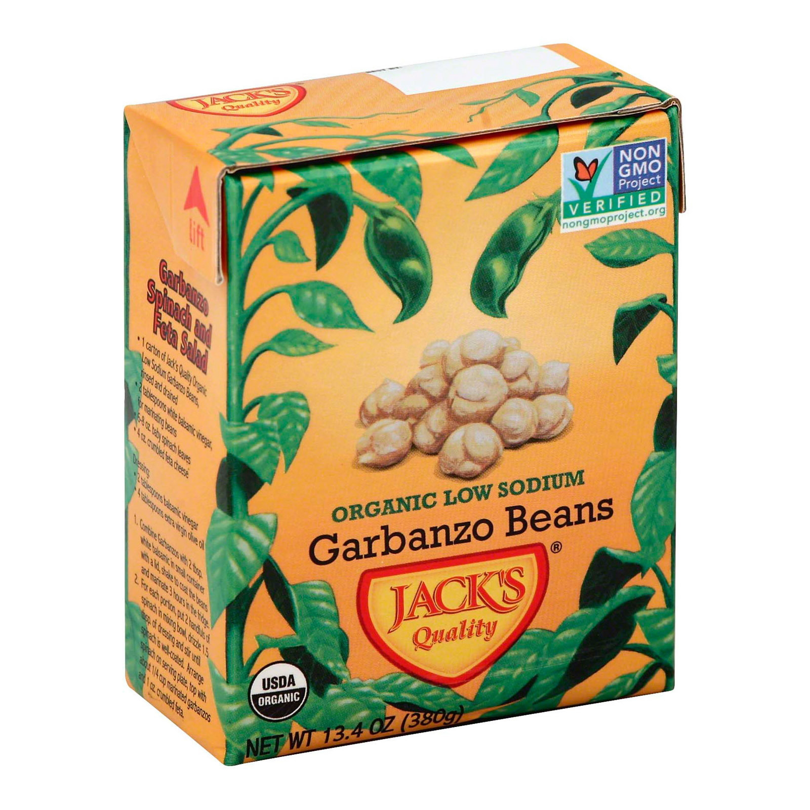 Jack's Quality Organic Garbanzo Beans - Low Sodium - Case of 8 - 13.4 oz