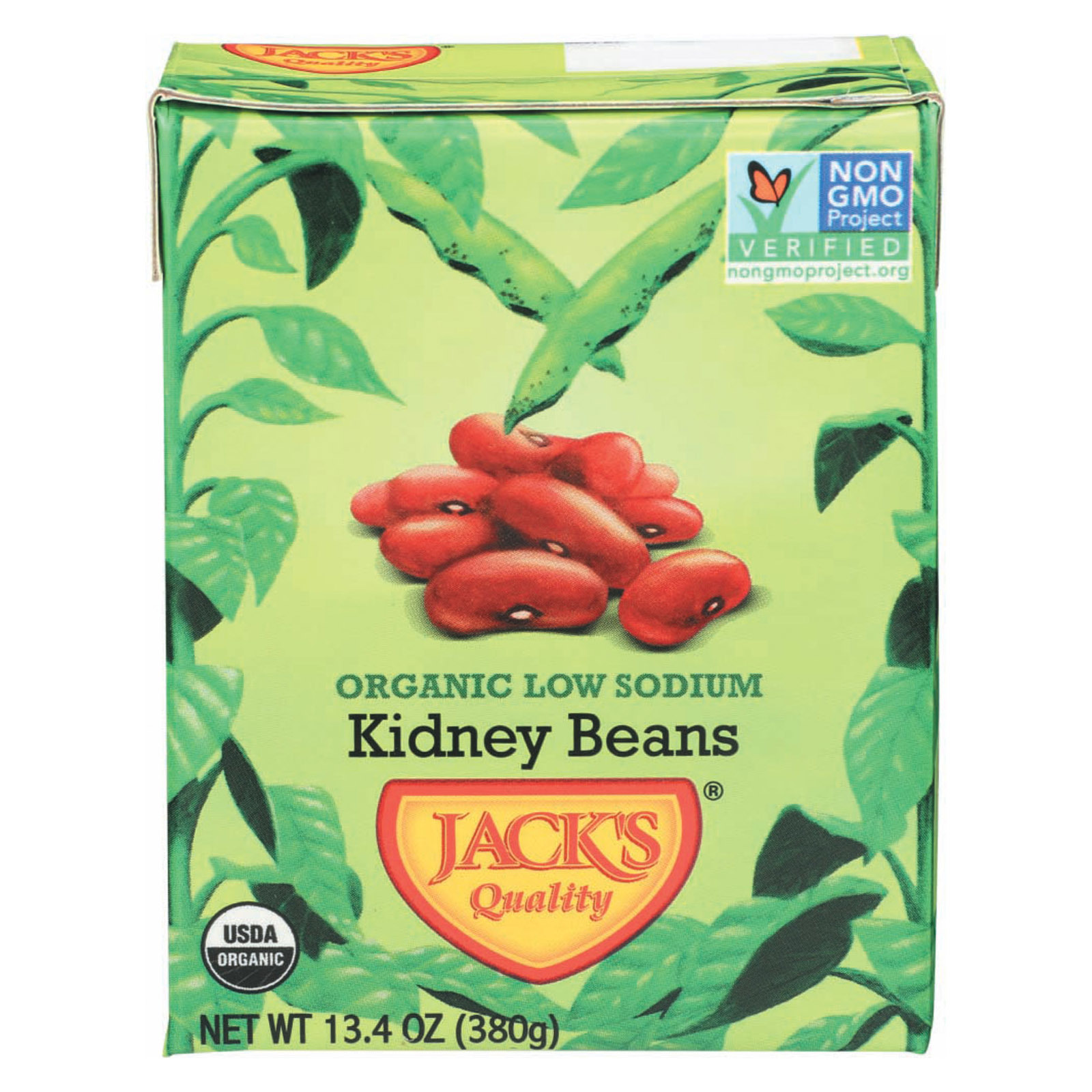 Jack's Quality Organic Red Kidney Beans - Low Sodium - Case of 8 - 13.4 oz