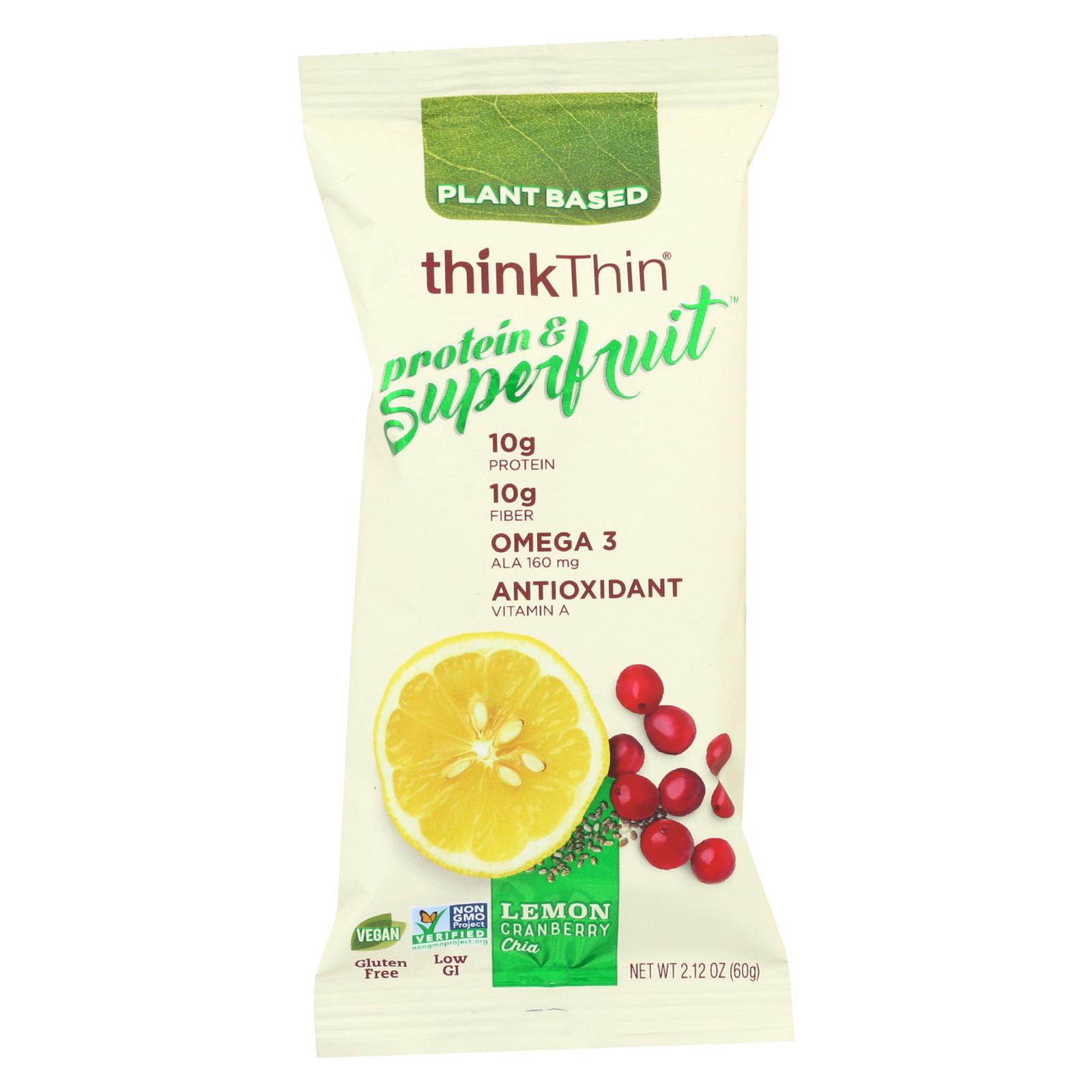 Think! Thin Protein & Superfruit - Lemon Cranberry Chia - Case of 9 - 2.1 oz