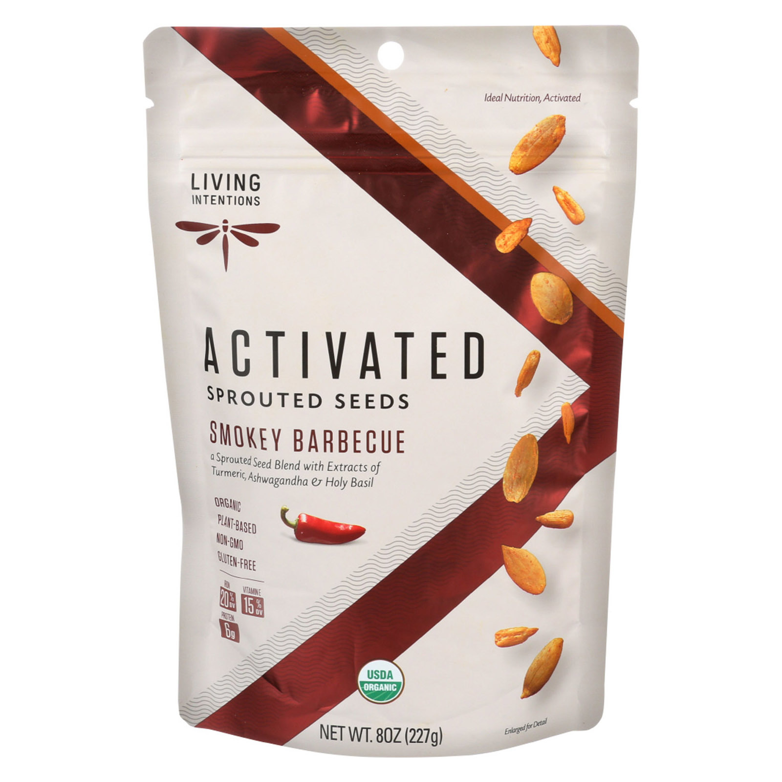 Living Intentions Organic Sprouted Seeds - Pumpkin Sunflower - Case of 6 - 8 oz.