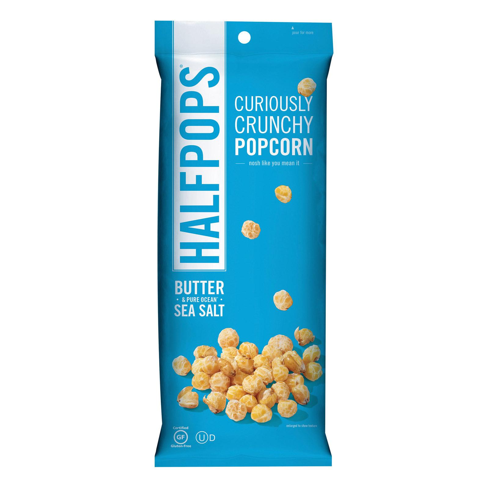 Halfpops Popcorn - Butter & Ocean Sea Salt - Case of 12 - 4.5 oz