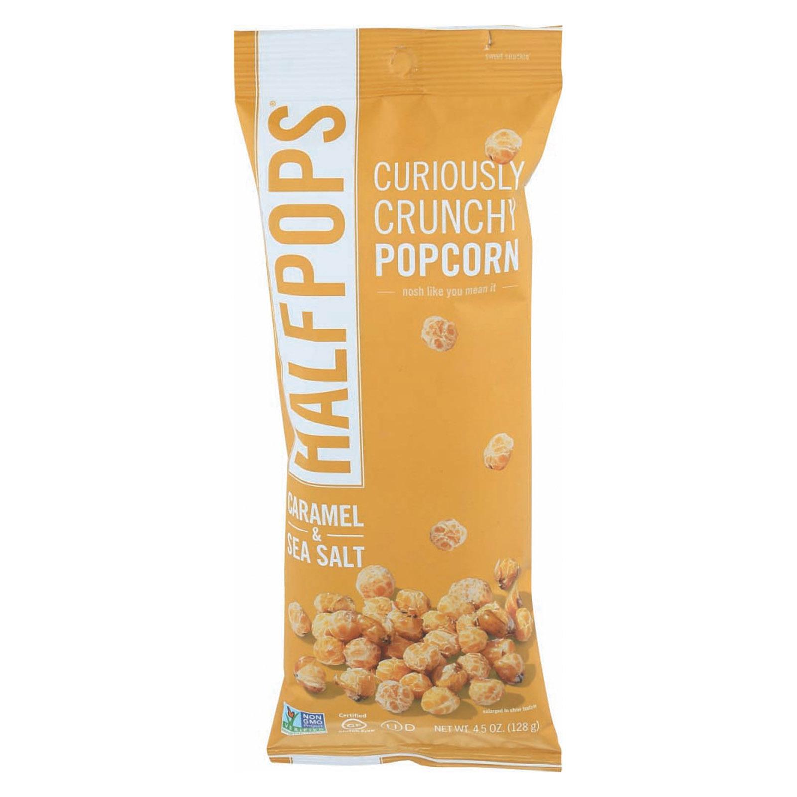 Halfpops Popcorn - Caramel & Sea Salt - Case of 12 - 4.5 oz