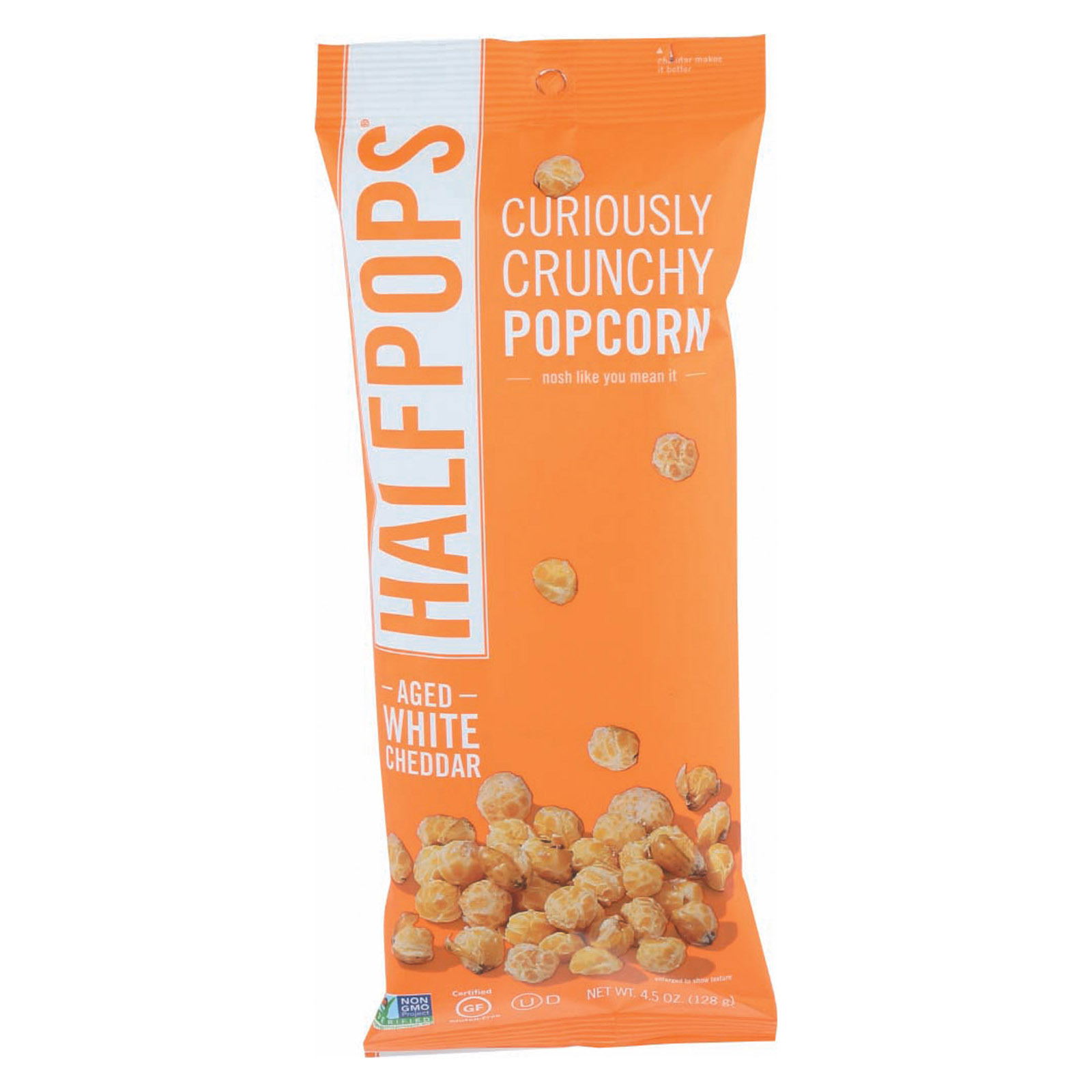 Halfpops Popcorn - Aged White Cheddar - Case of 12 - 4.5 oz