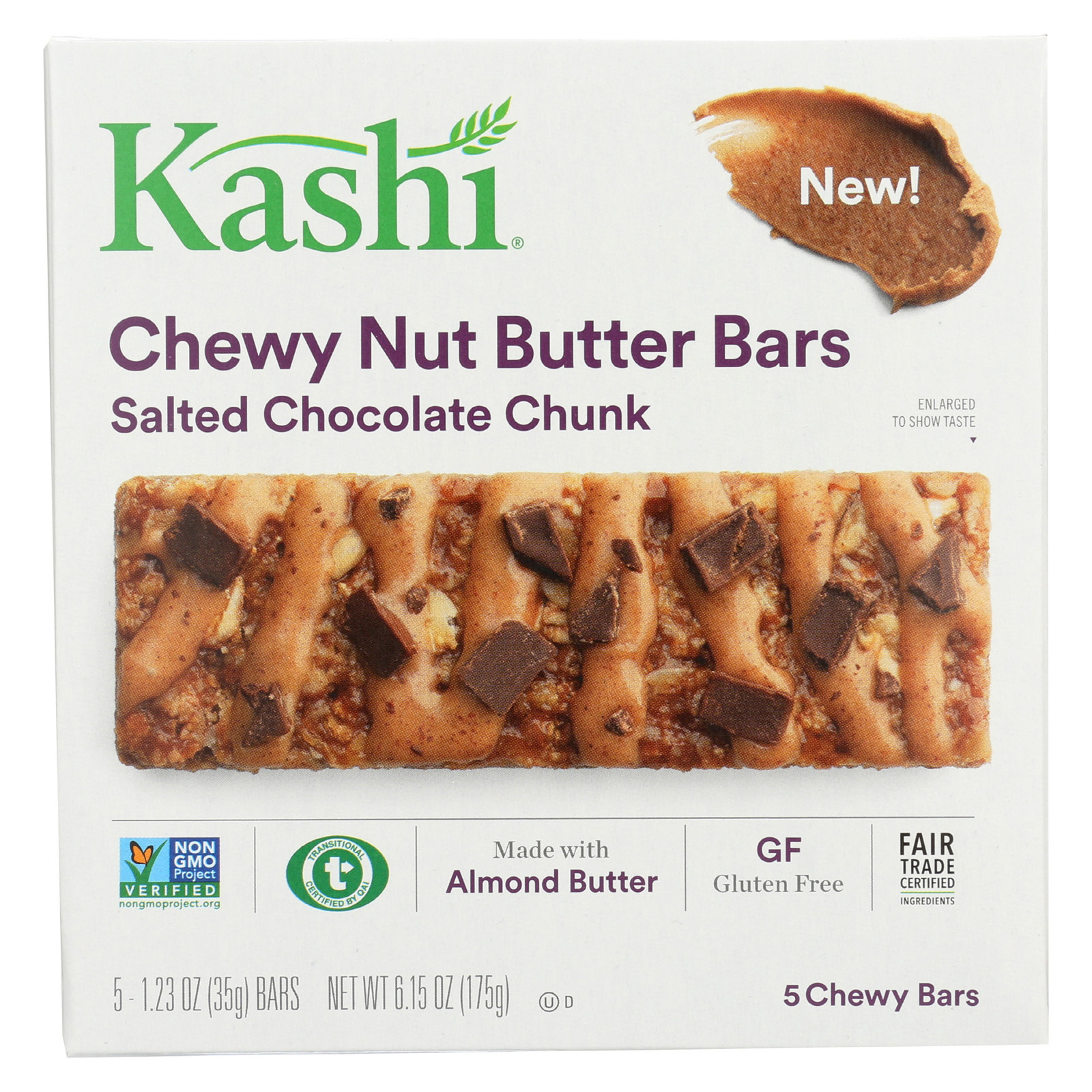 Kashi Chewy Nut Butter Bars - Salted Chocolate Chunk - Case of 8 - 5/1.23oz