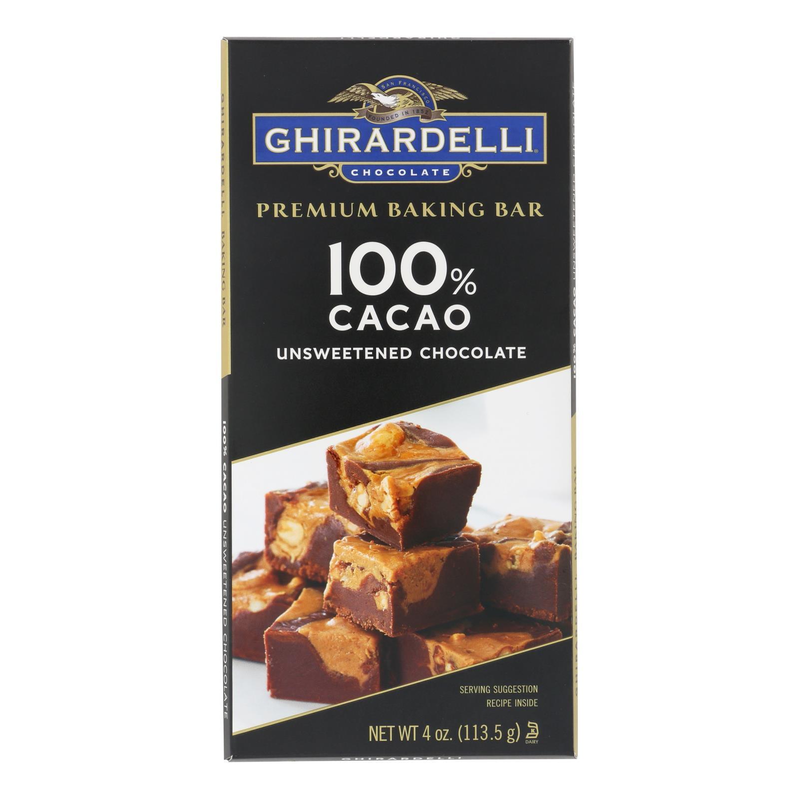 Ghirardelli Premium Baking Bar - 100% Cacao Unsweetened Chocolate - Case of 12 - 4 oz